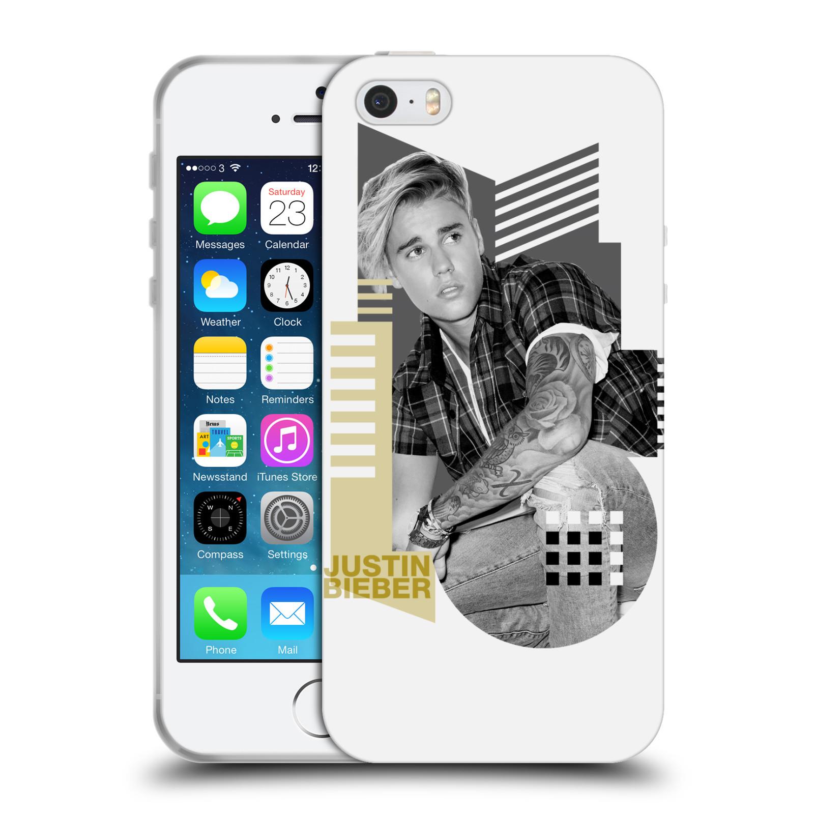 HEAD CASE silikonový obal na mobil Apple Iphone 5 / 5S originální potisk Justin Bieber tvary foto