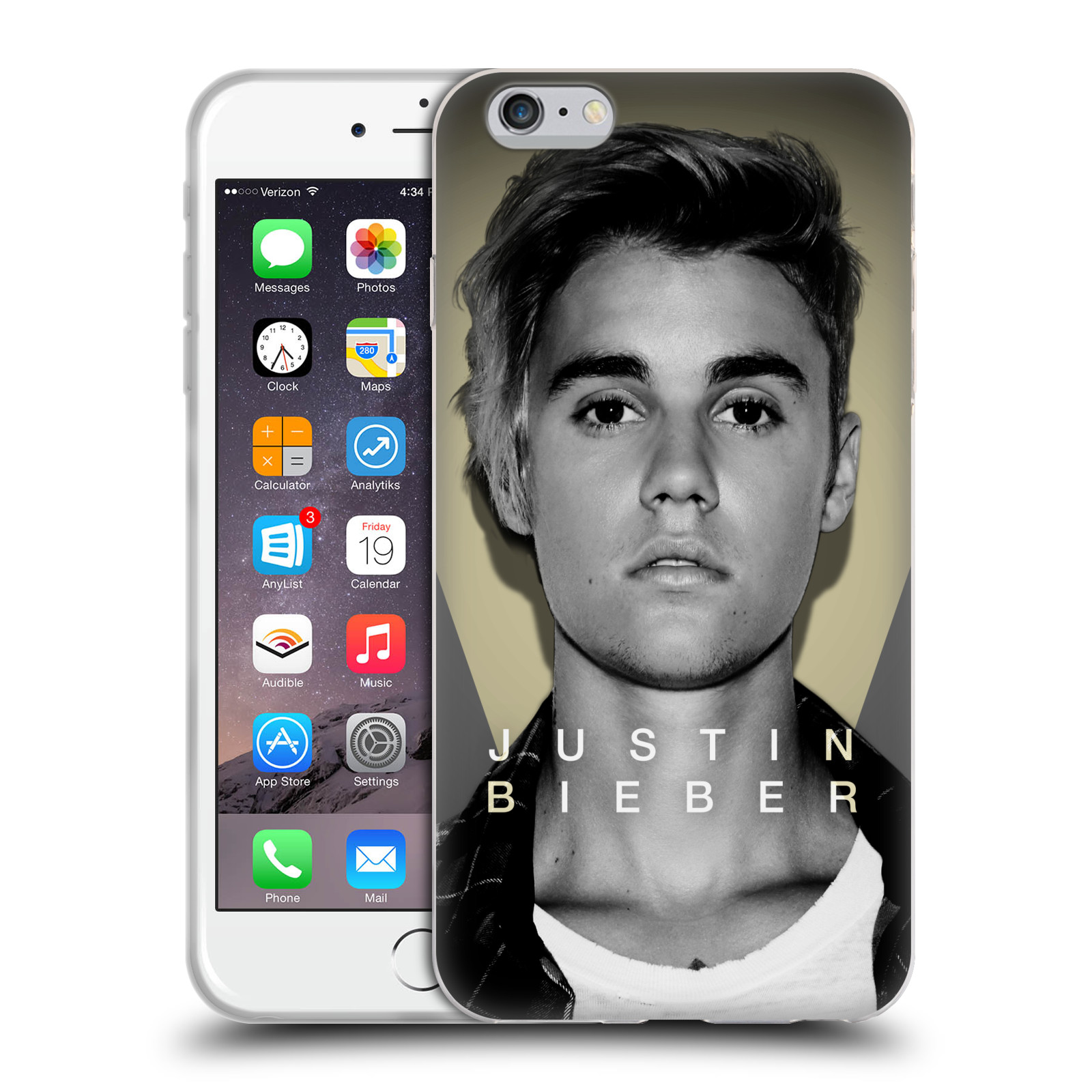 HEAD CASE silikonový obal na mobil Apple Iphone 6 PLUS / 6S PLUS originální potisk Justin Bieber foto portrét