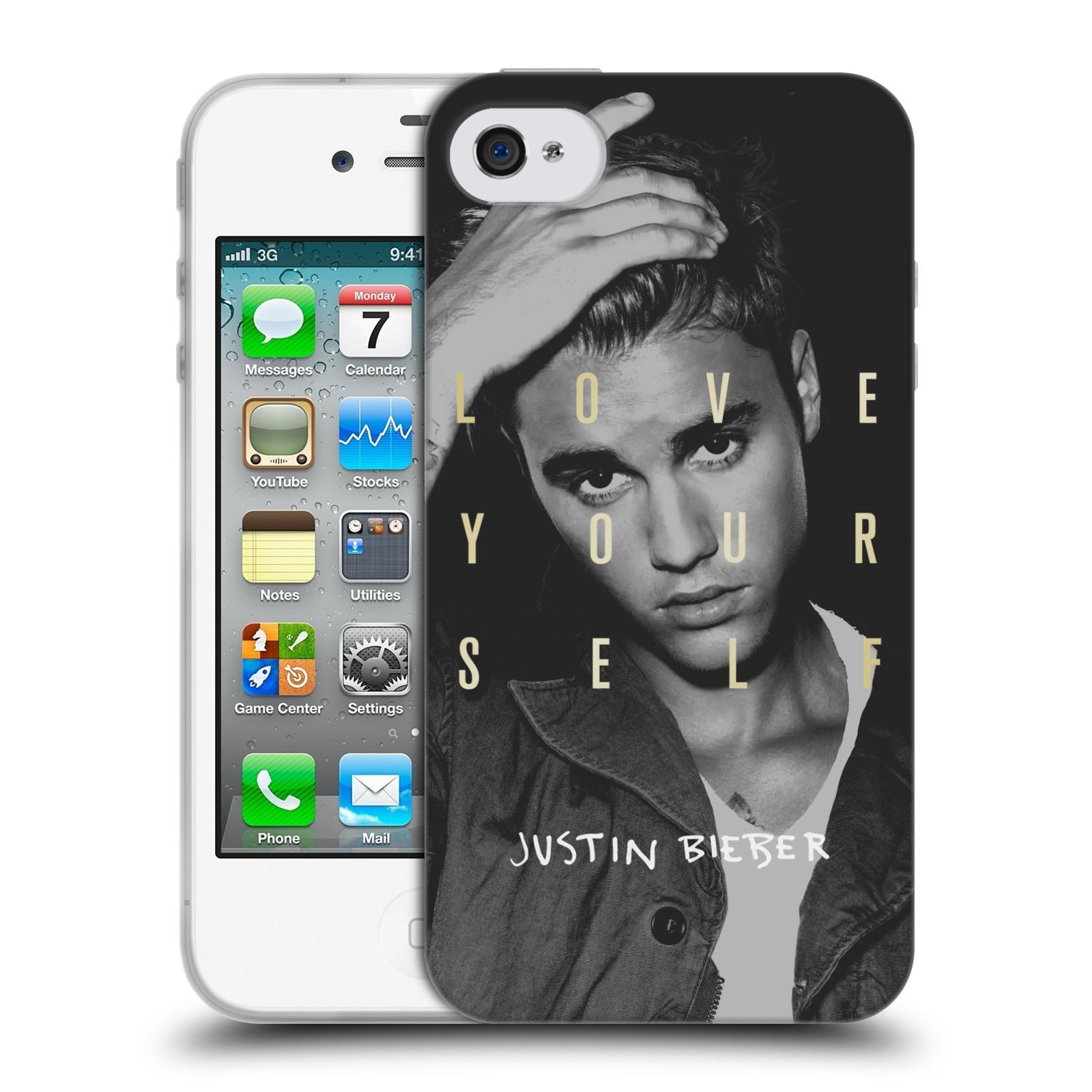 HEAD CASE silikonový obal na mobil Apple Iphone 4 / 4S originální potisk Justin Bieber foto text