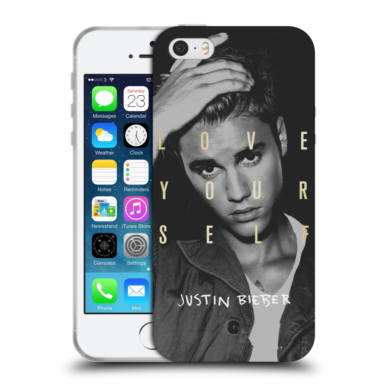 HEAD CASE silikonový obal na mobil Apple Iphone 5 / 5S originální potisk Justin Bieber foto text
