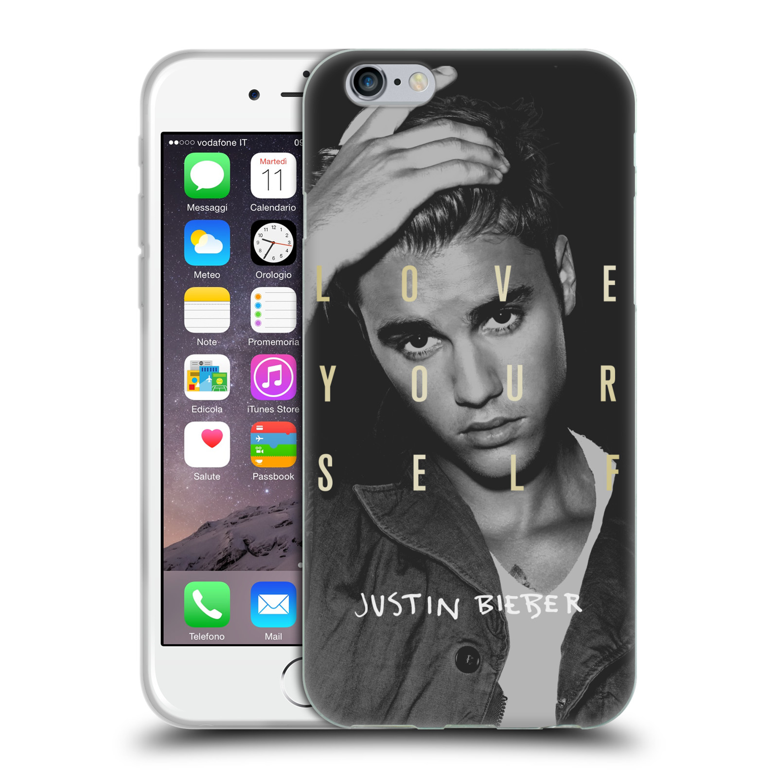 HEAD CASE silikonový obal na mobil Apple Iphone 6 / 6S originální potisk Justin Bieber foto text