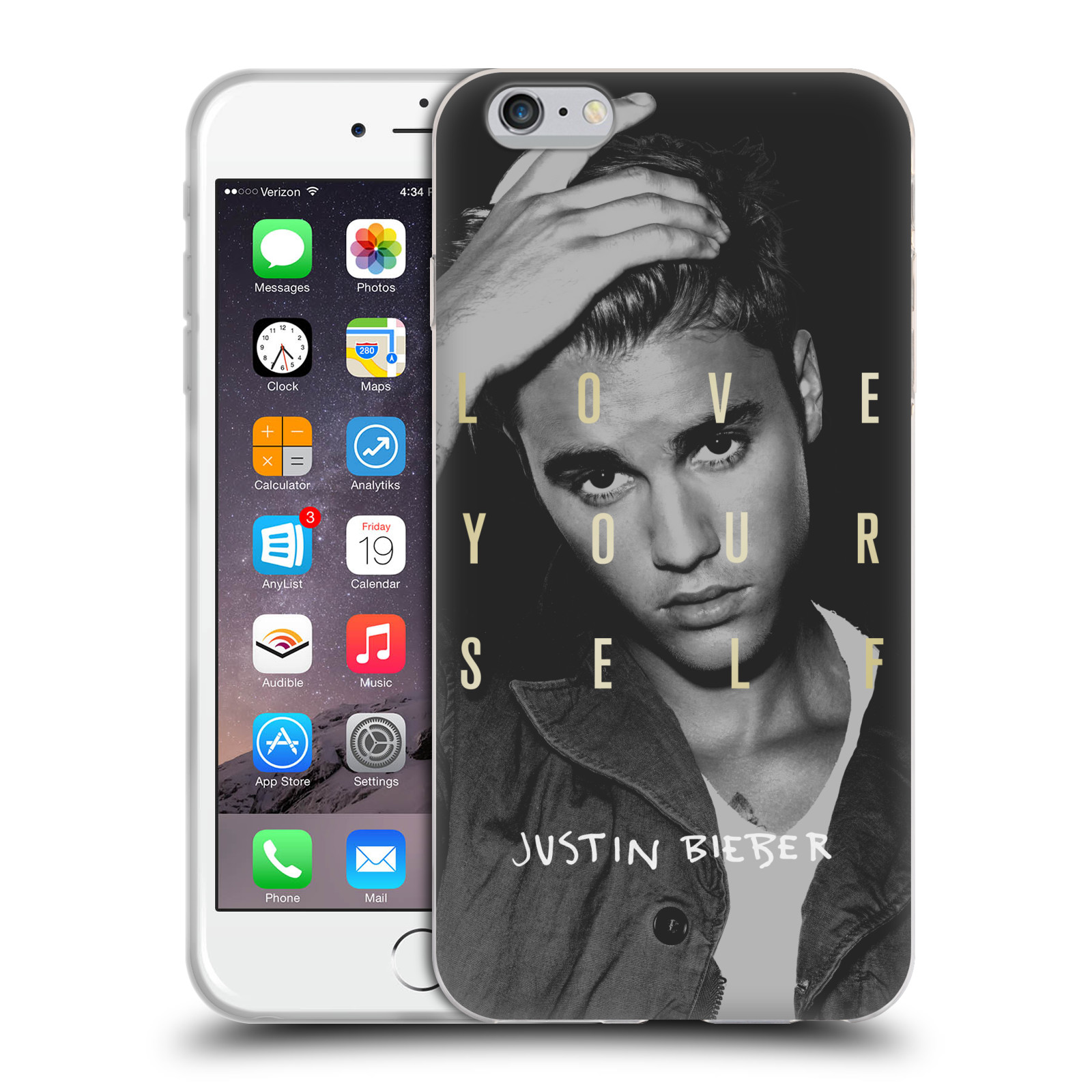 HEAD CASE silikonový obal na mobil Apple Iphone 6 PLUS / 6S PLUS originální potisk Justin Bieber foto text