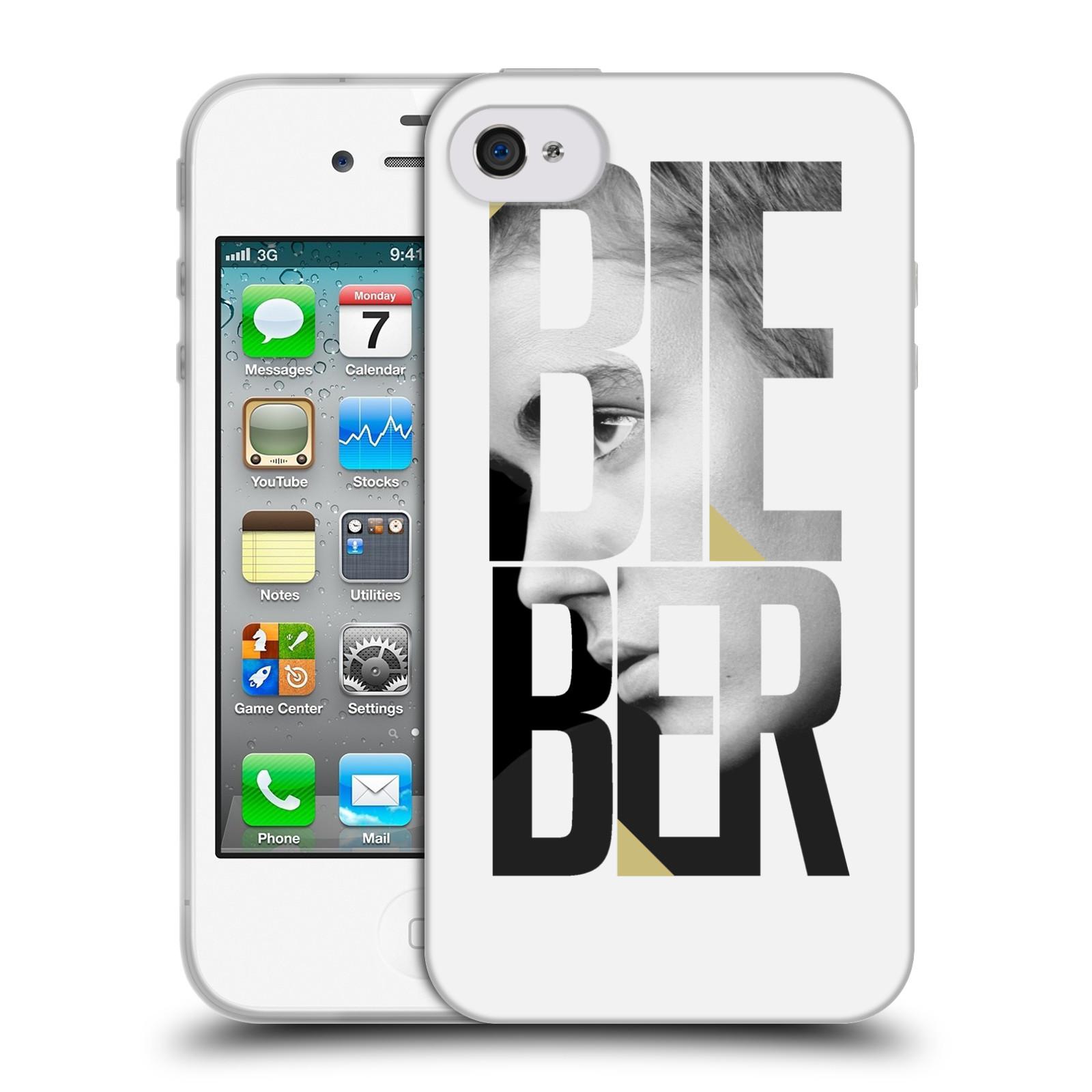 HEAD CASE silikonový obal na mobil Apple Iphone 4 / 4S originální potisk Justin Bieber nadpis fotka