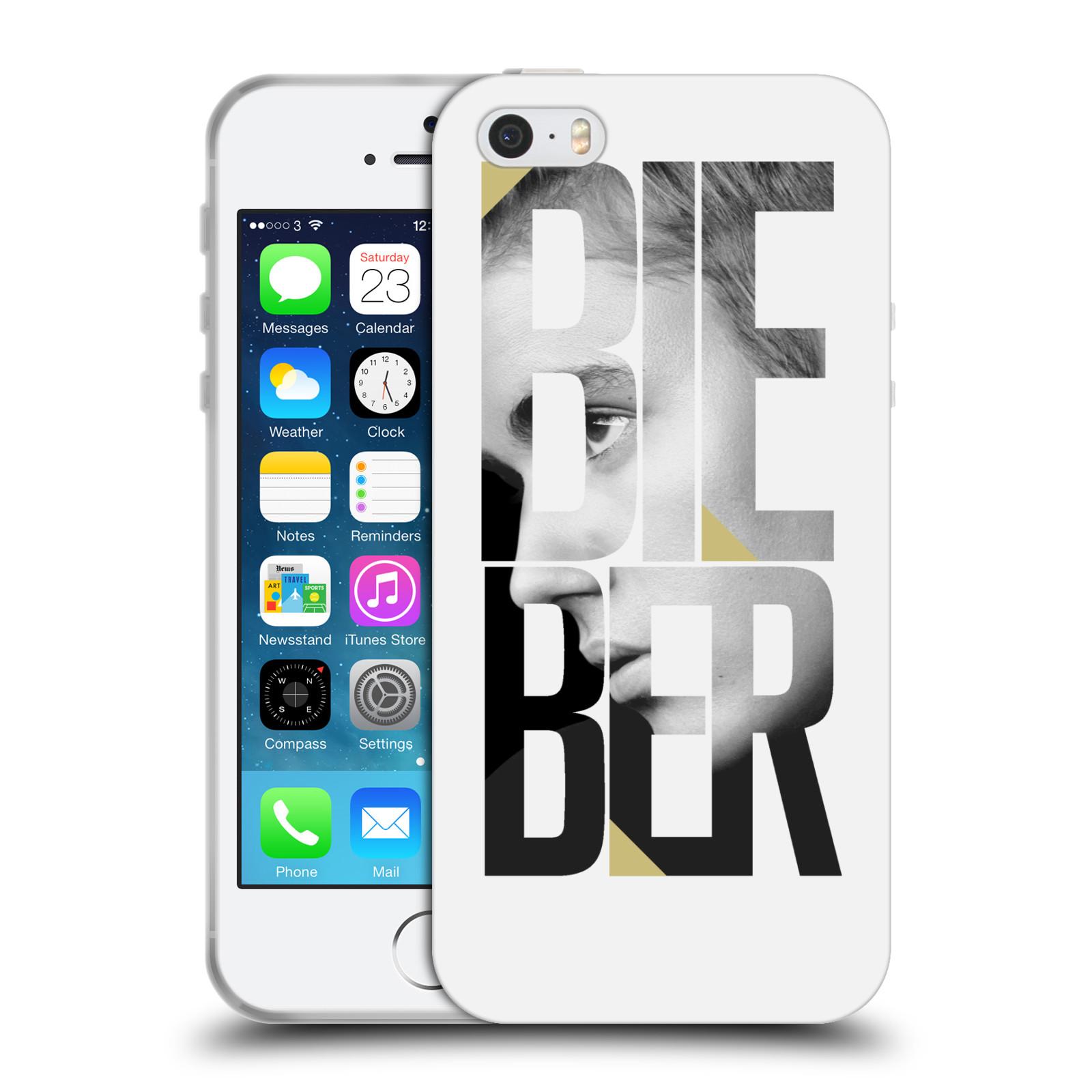 HEAD CASE silikonový obal na mobil Apple Iphone 5 / 5S originální potisk Justin Bieber nadpis fotka