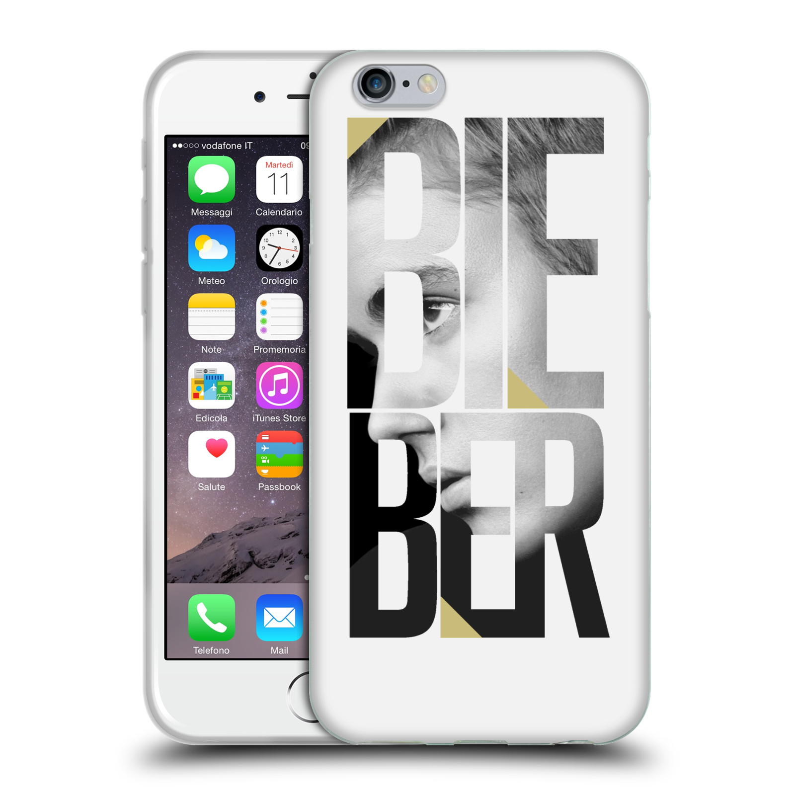 HEAD CASE silikonový obal na mobil Apple Iphone 6 / 6S originální potisk Justin Bieber nadpis fotka
