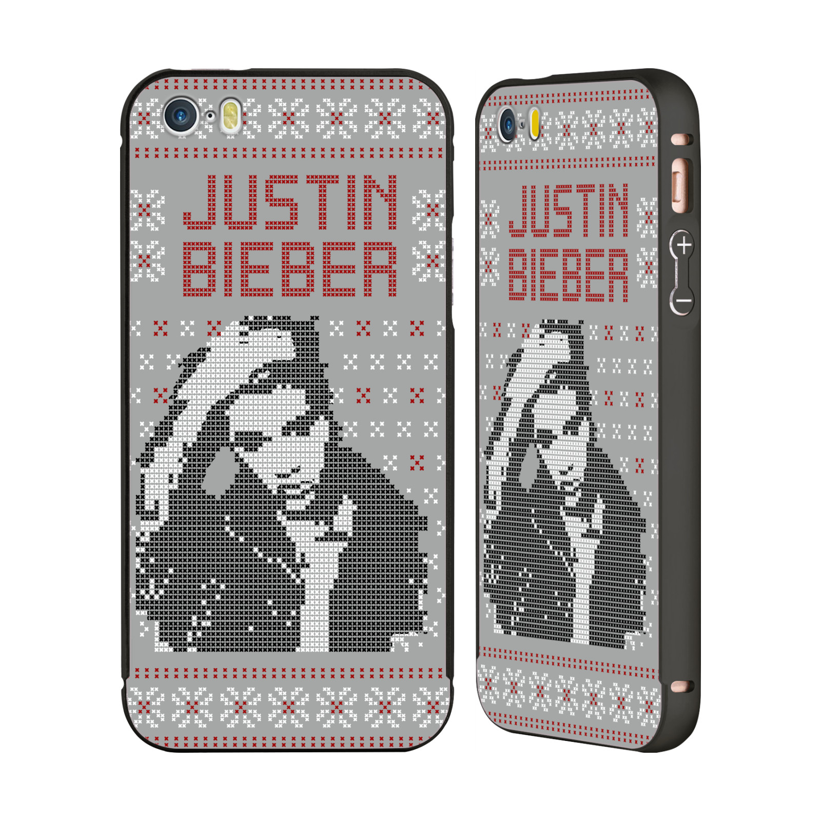 JUSTIN-BIEBER-KNITTED-CHRISTMAS-BLACK-BUMPER-SLIDER-CASE-FOR-APPLE-iPHONE-PHONES