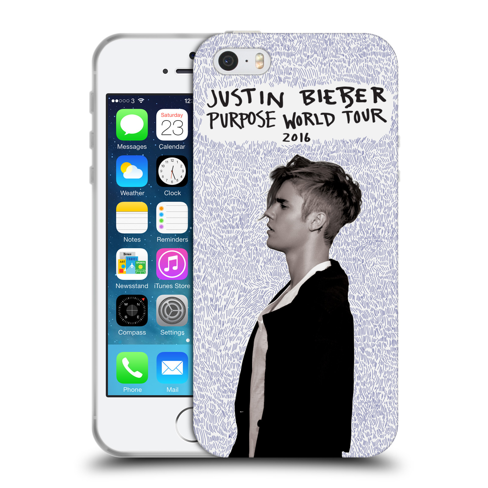 HEAD CASE silikonový obal na mobil Apple Iphone 5 / 5S originální potisk Justin Bieber Purpose world tour