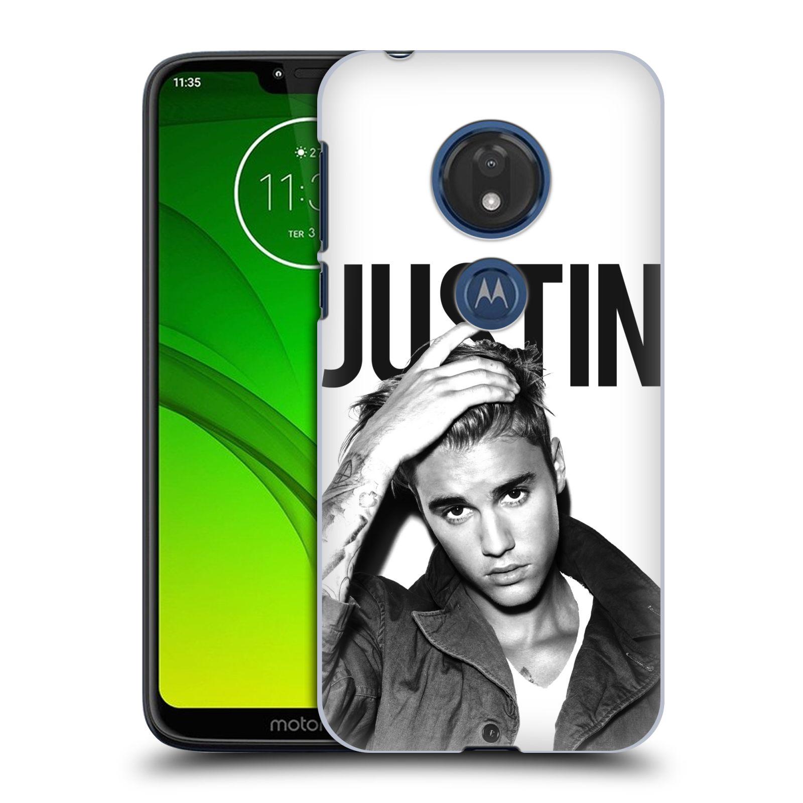 Pouzdro na mobil Motorola Moto G7 Play Justin Bieber foto Purpose černá a bílá