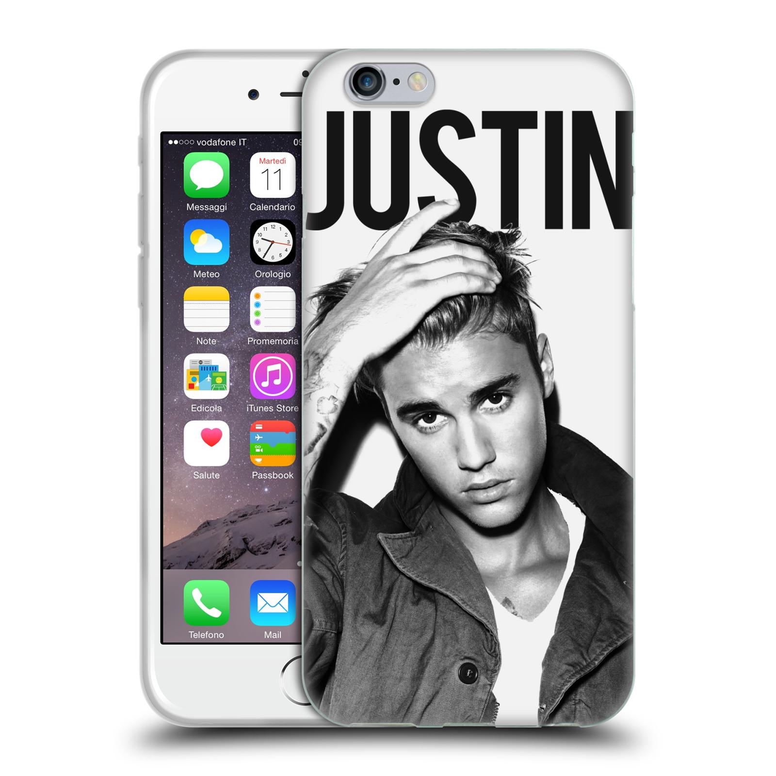 HEAD CASE silikonový obal na mobil Apple Iphone 6 / 6S originální potisk Justin Bieber póza černobílá