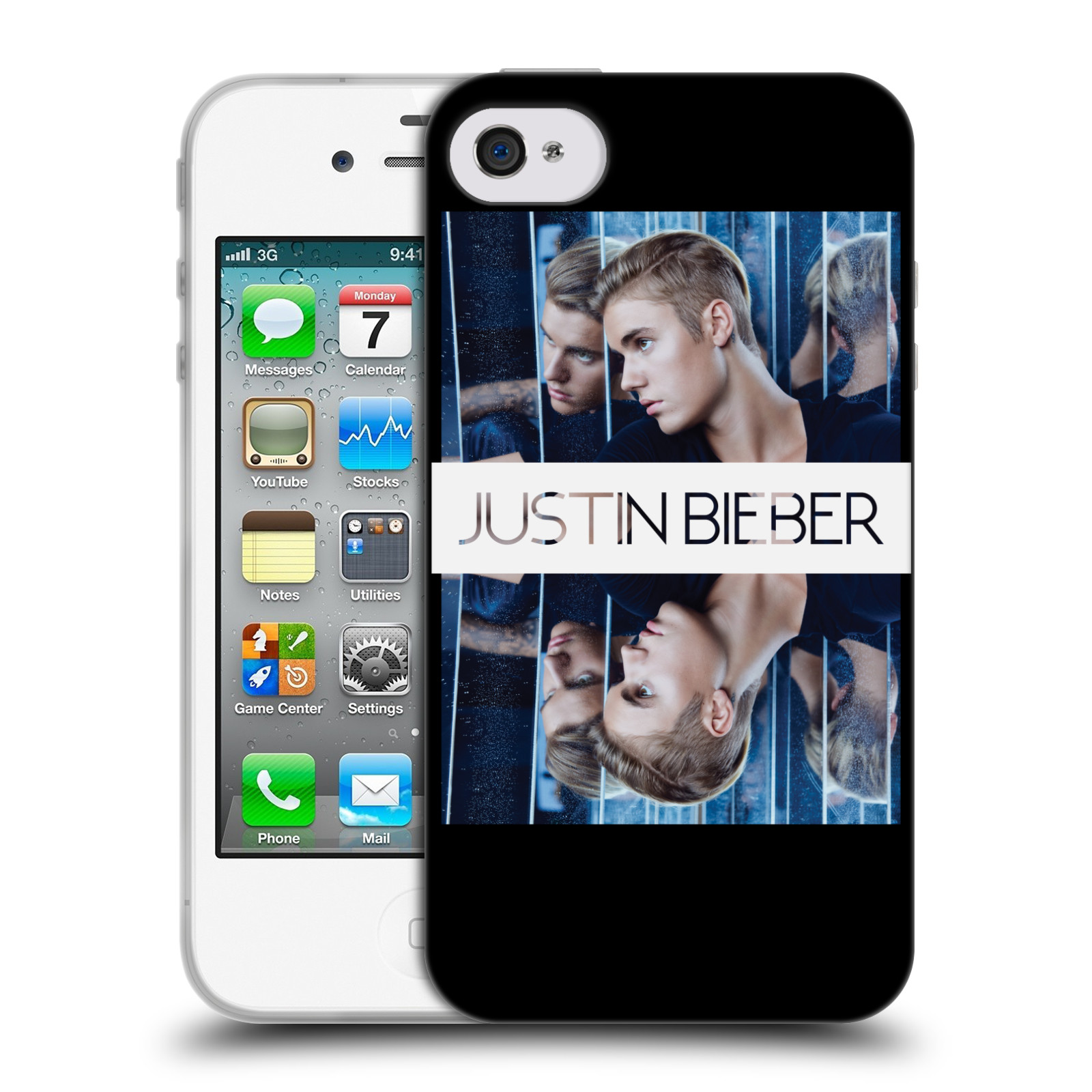 HEAD CASE silikonový obal na mobil Apple Iphone 4 / 4S originální potisk Justin Bieber Zrcadlo