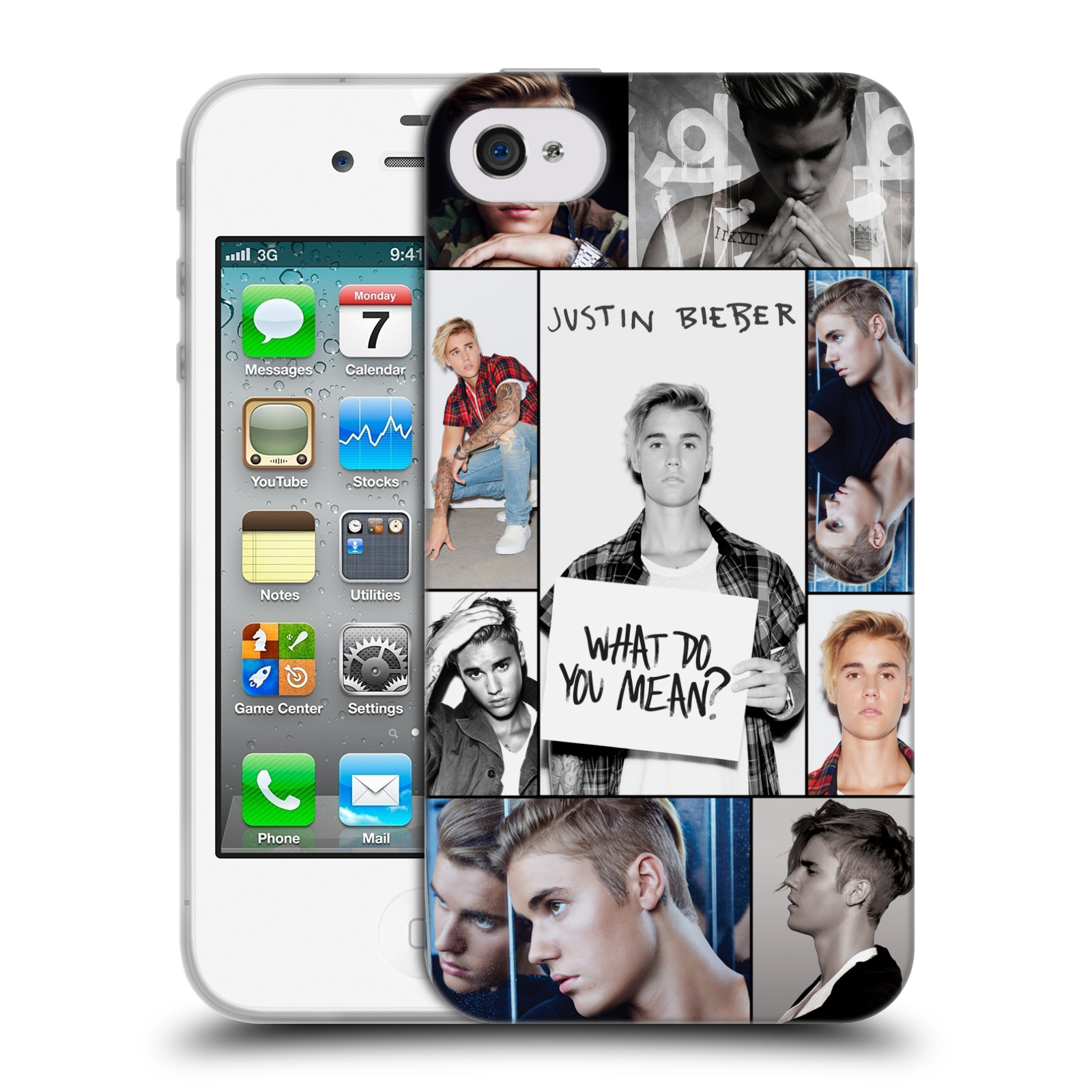 HEAD CASE silikonový obal na mobil Apple Iphone 4 / 4S originální potisk Justin Bieber foto koláž