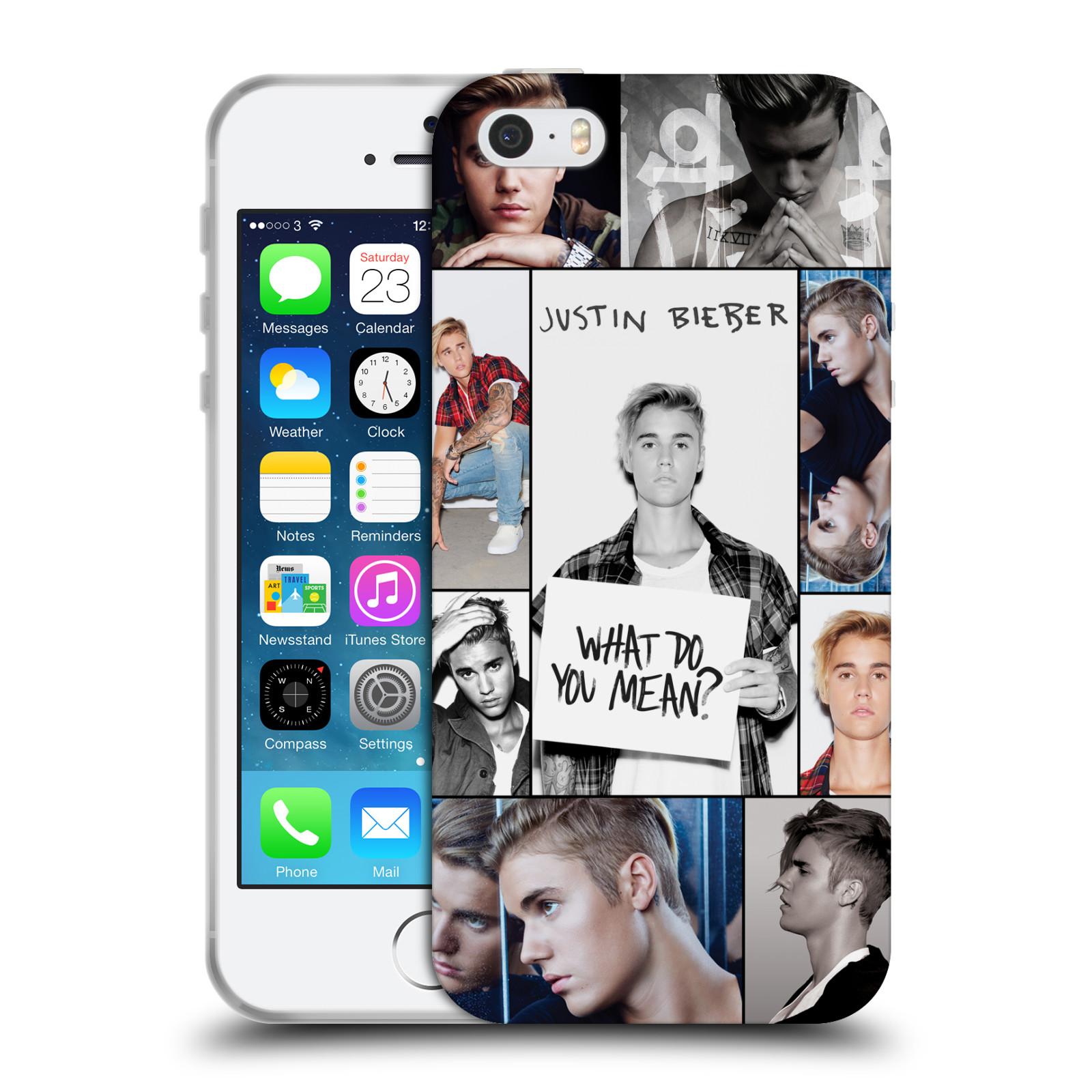 HEAD CASE silikonový obal na mobil Apple Iphone 5 / 5S originální potisk Justin Bieber foto koláž