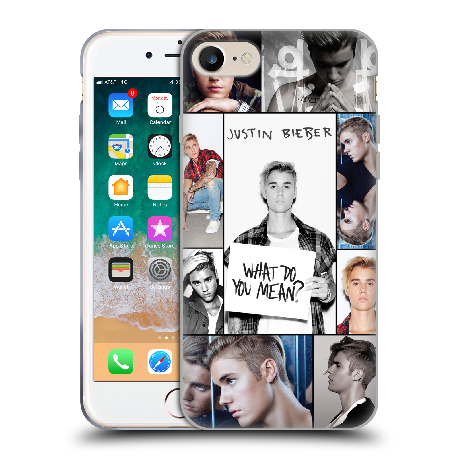 HEAD CASE silikonový obal na mobil Apple Iphone 7 Justin Bieber foto Purpose malé fotky