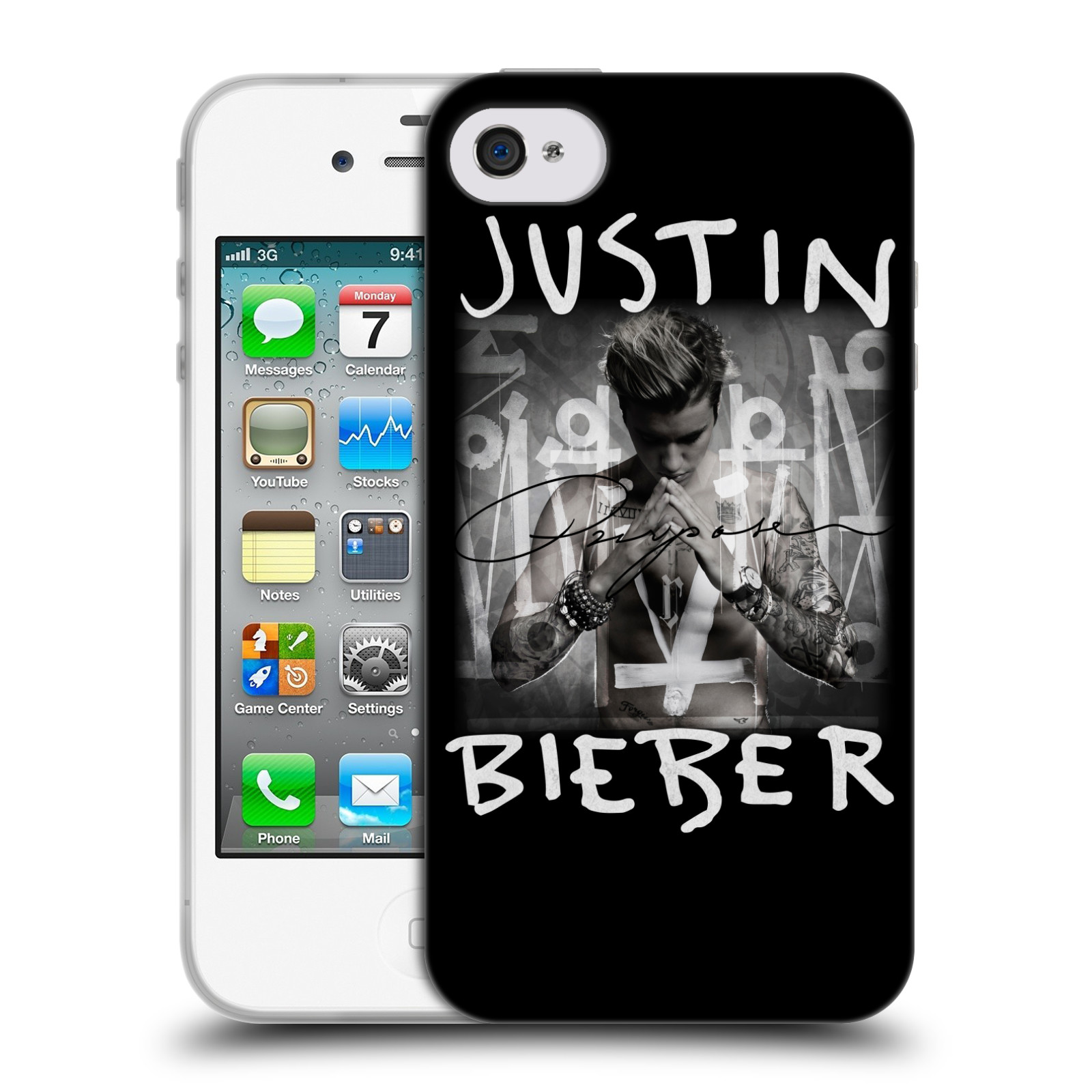 HEAD CASE silikonový obal na mobil Apple Iphone 4 / 4S originální potisk Justin Bieber Purpose
