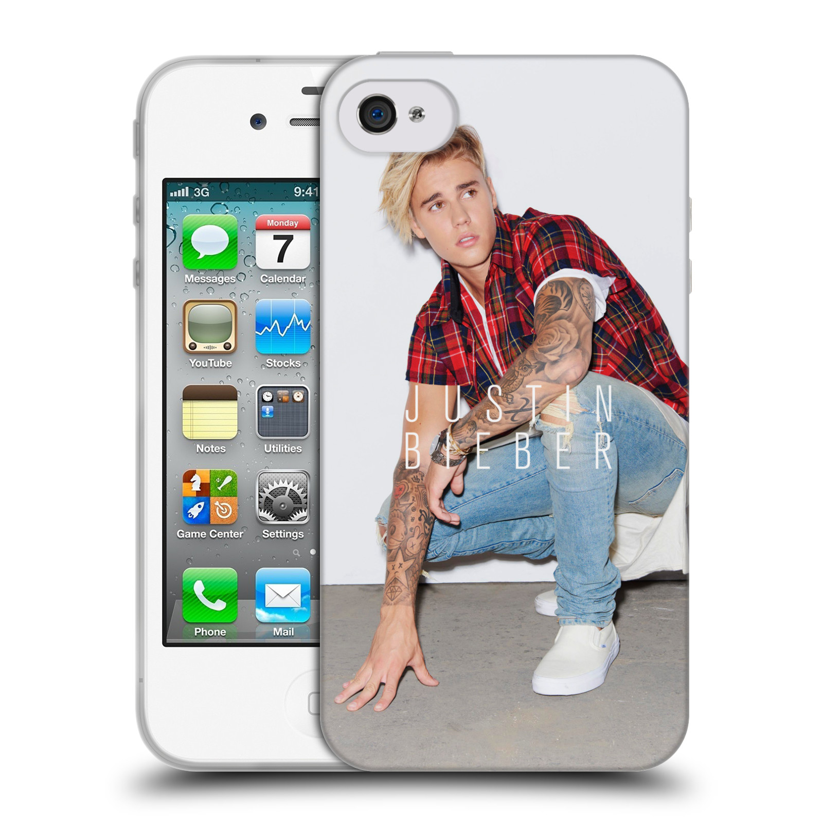 HEAD CASE silikonový obal na mobil Apple Iphone 4 / 4S originální potisk Justin Bieber Uncropped