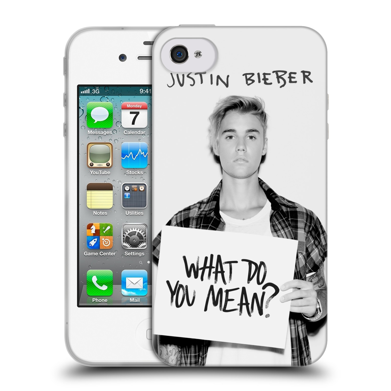 HEAD CASE silikonový obal na mobil Apple Iphone 4 / 4S originální potisk Justin Bieber What do you mean