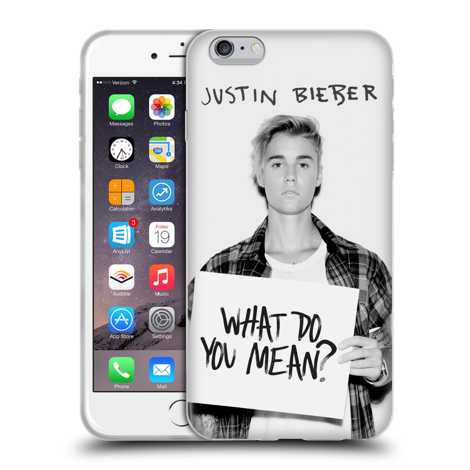 HEAD CASE silikonový obal na mobil Apple Iphone 6 PLUS / 6S PLUS originální potisk Justin Bieber What do you mean