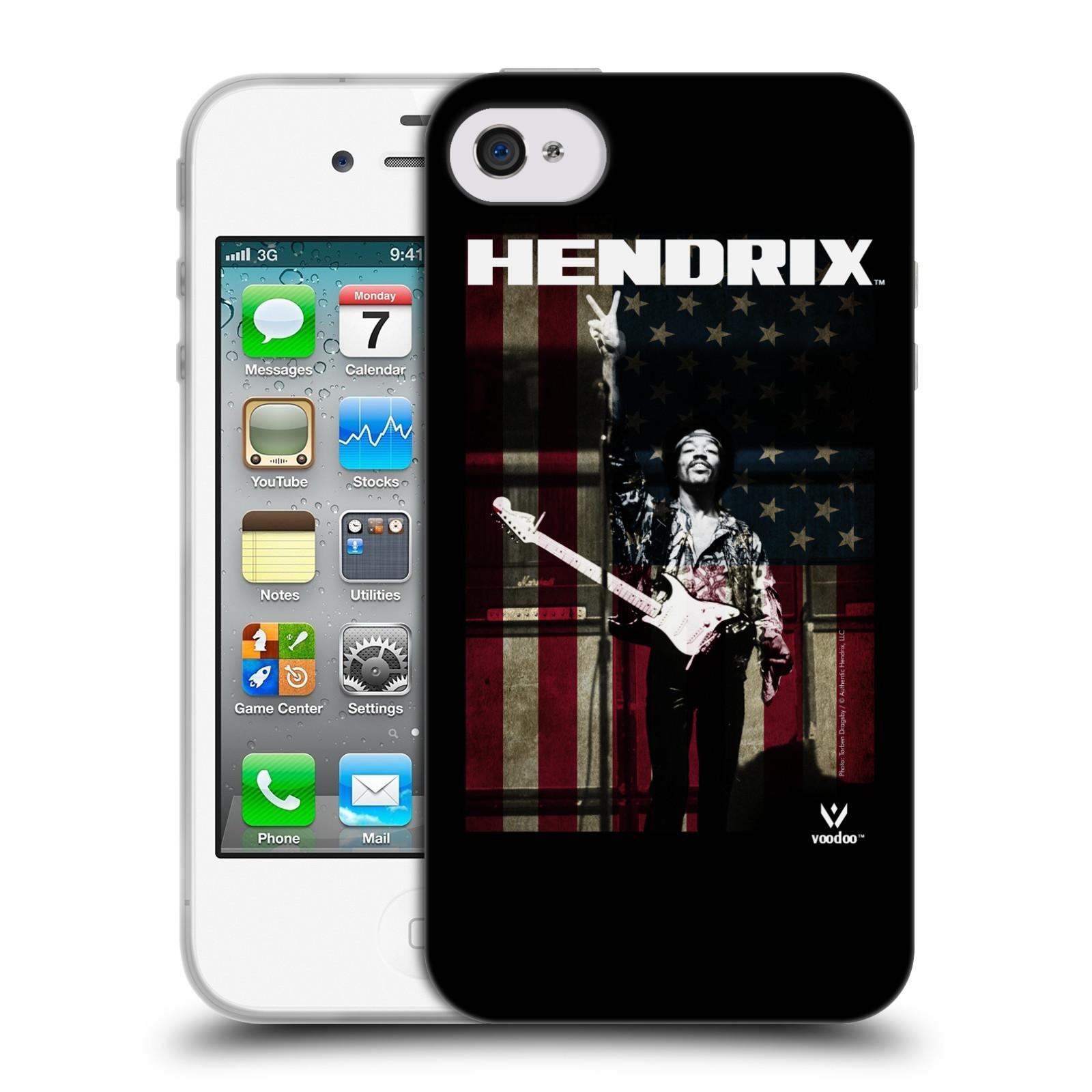 HEAD CASE silikonový obal na mobil Apple Iphone 4/4S Jimi Hendrix Americká vlajka