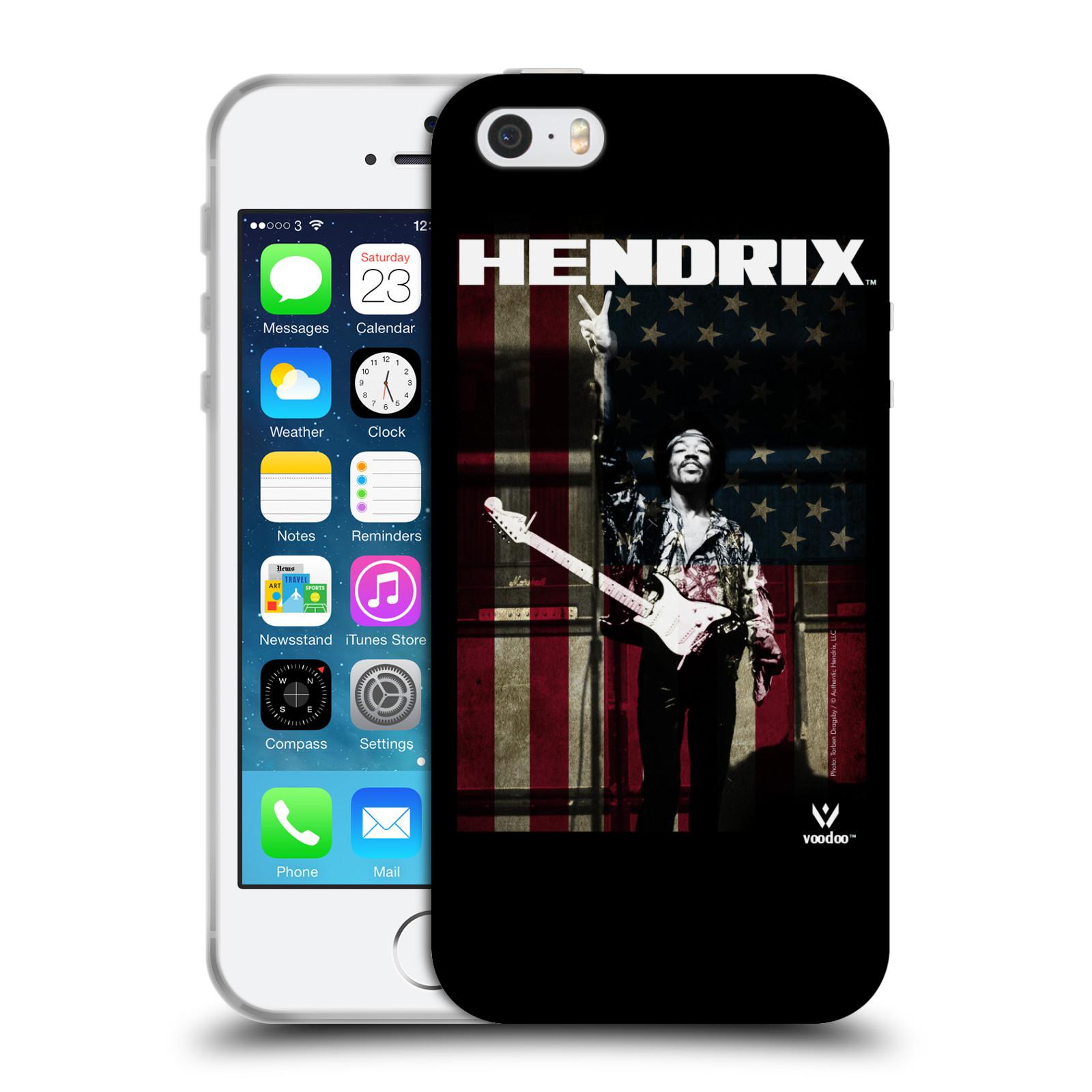 HEAD CASE silikonový obal na mobil Apple Iphone 5/5S Jimi Hendrix Americká vlajka