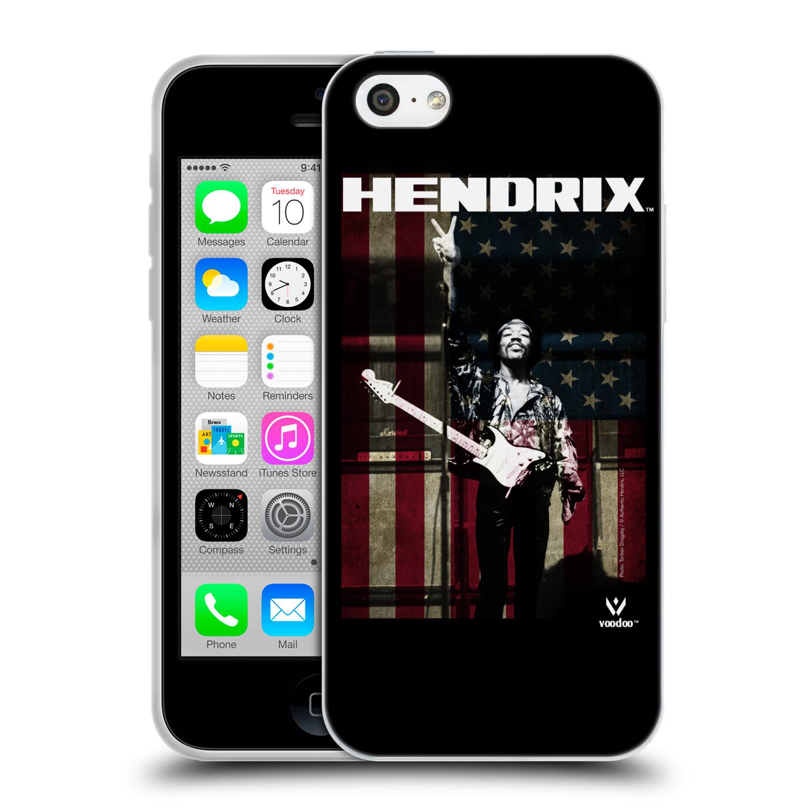 HEAD CASE silikonový obal na mobil Apple Iphone 5C Jimi Hendrix Americká vlajka