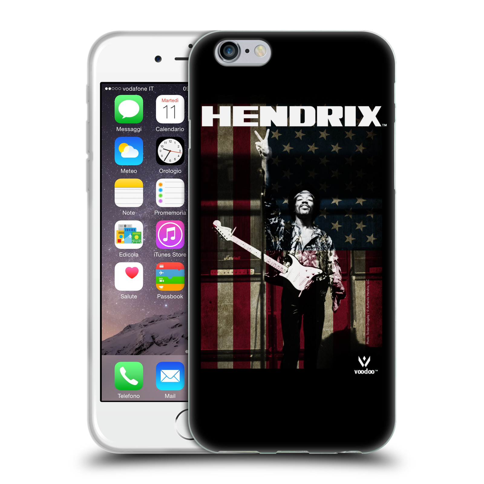 HEAD CASE silikonový obal na mobil Apple Iphone 6/6S Jimi Hendrix Americká vlajka