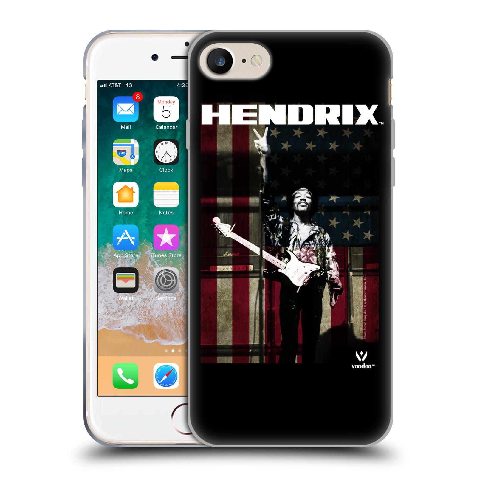 HEAD CASE silikonový obal na mobil Apple Iphone 7 Jimi Hendrix Americká vlajka