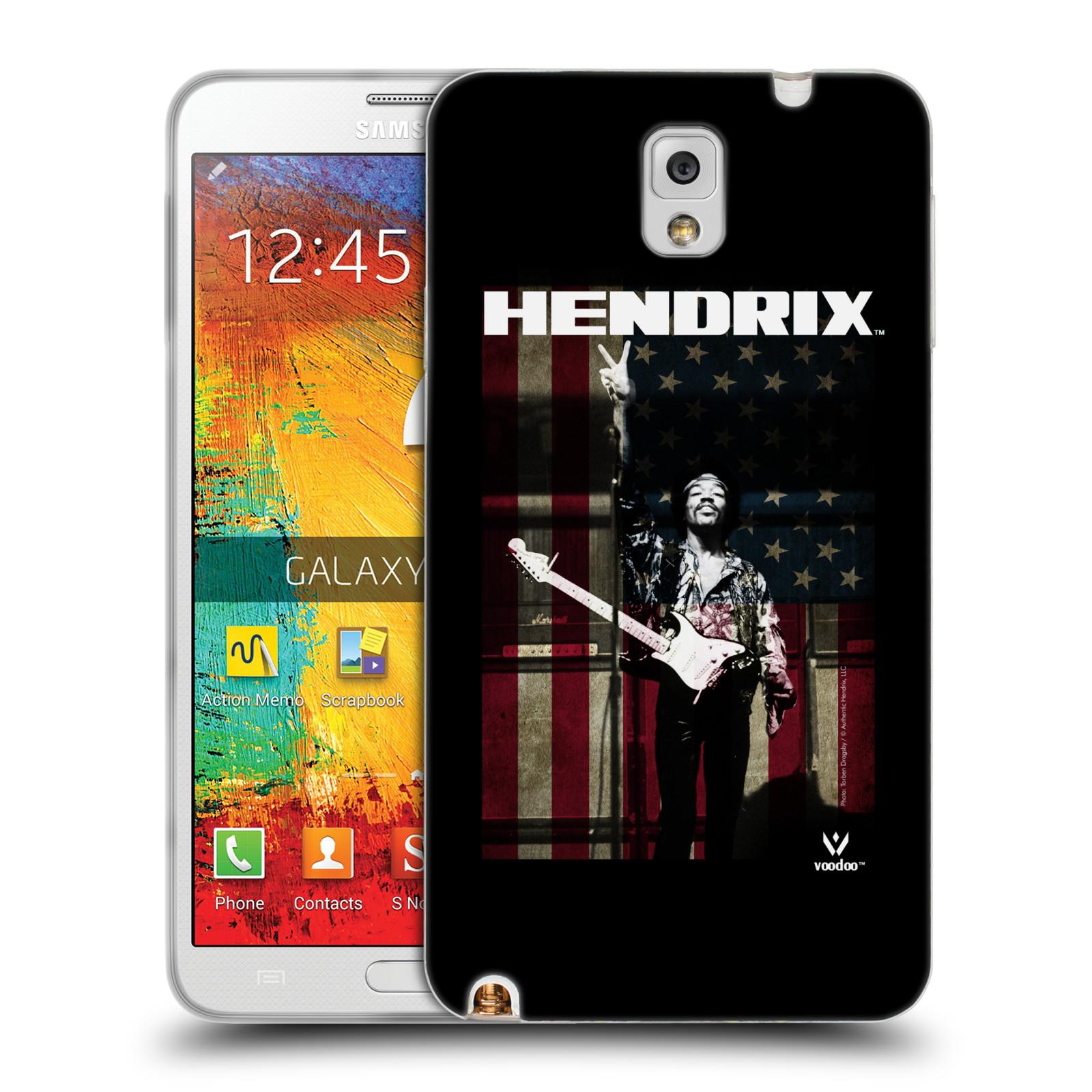 HEAD CASE silikonový obal na mobil Samsung Galaxy Note 3 Jimi Hendrix Americká vlajka