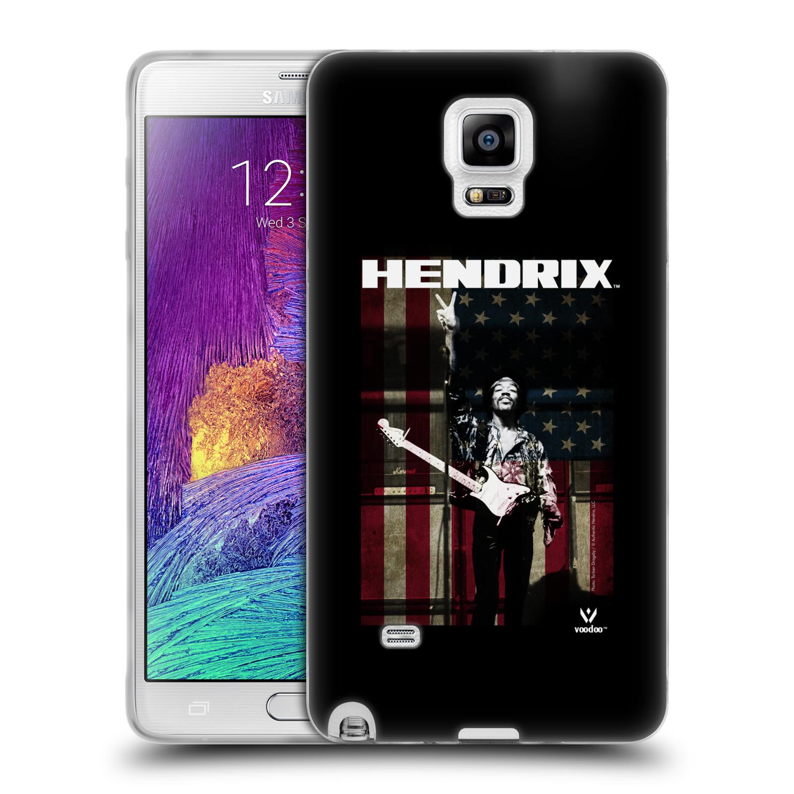 HEAD CASE silikonový obal na mobil Samsung Galaxy Note 4 Jimi Hendrix Americká vlajka