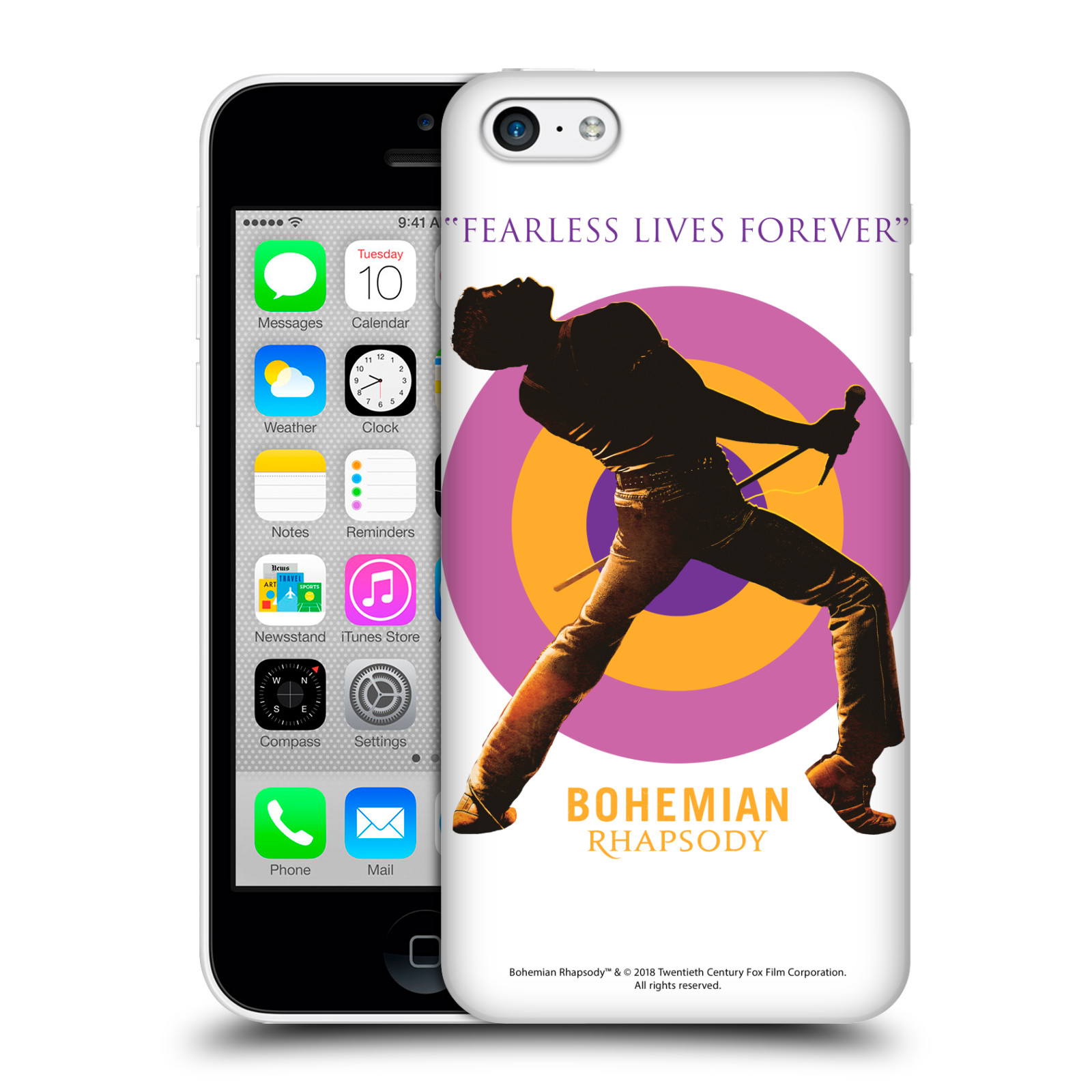 Pouzdro na mobil Apple Iphone 5C Filmový motiv Bohemian Rhapsody Queen silueta
