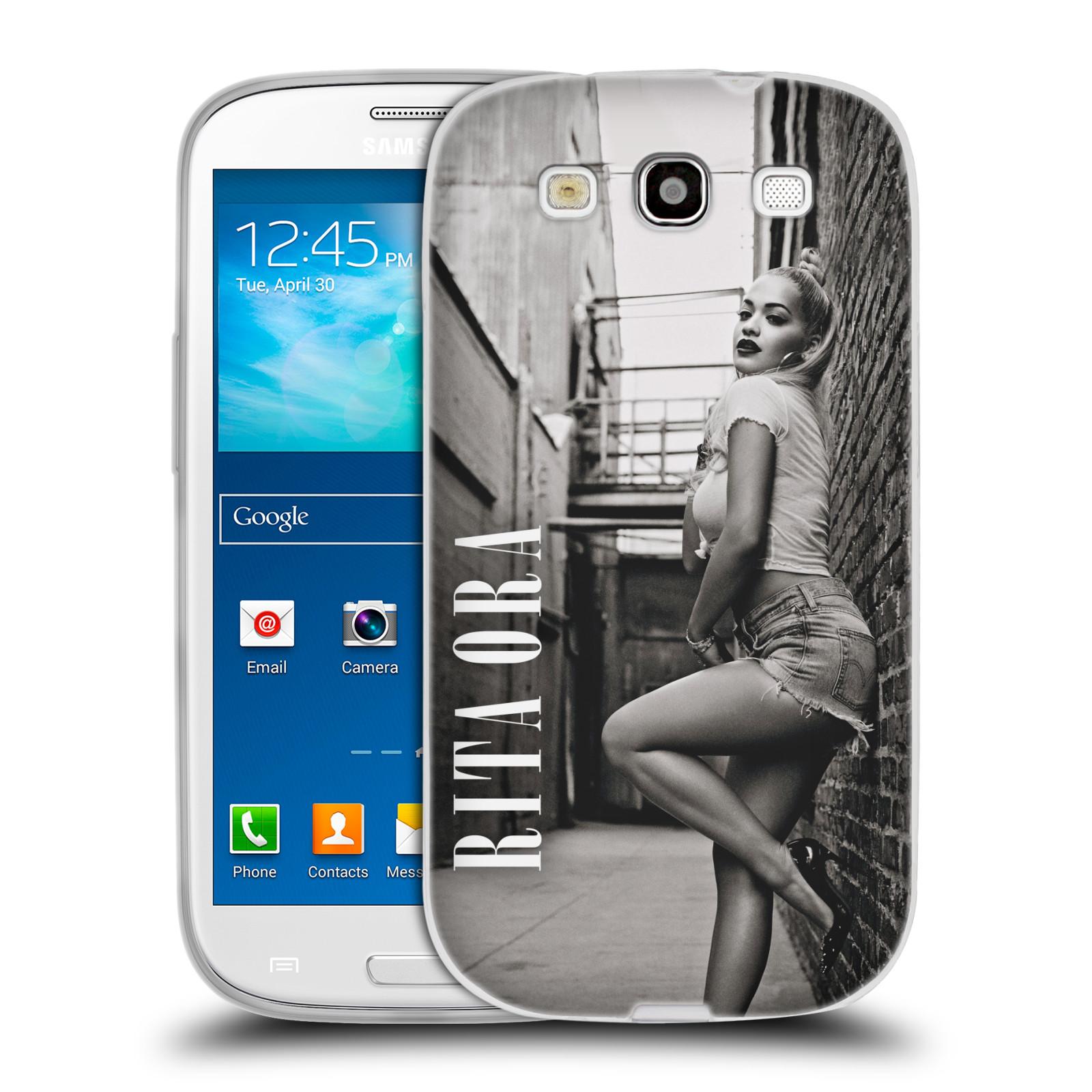HEAD CASE silikonový obal na mobil Samsung Galaxy S3 zpěvačka Rita Ora foto černobílá