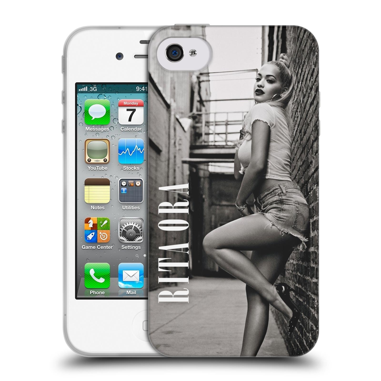 HEAD CASE silikonový obal na mobil Apple Iphone 4/4S zpěvačka Rita Ora foto černobílá