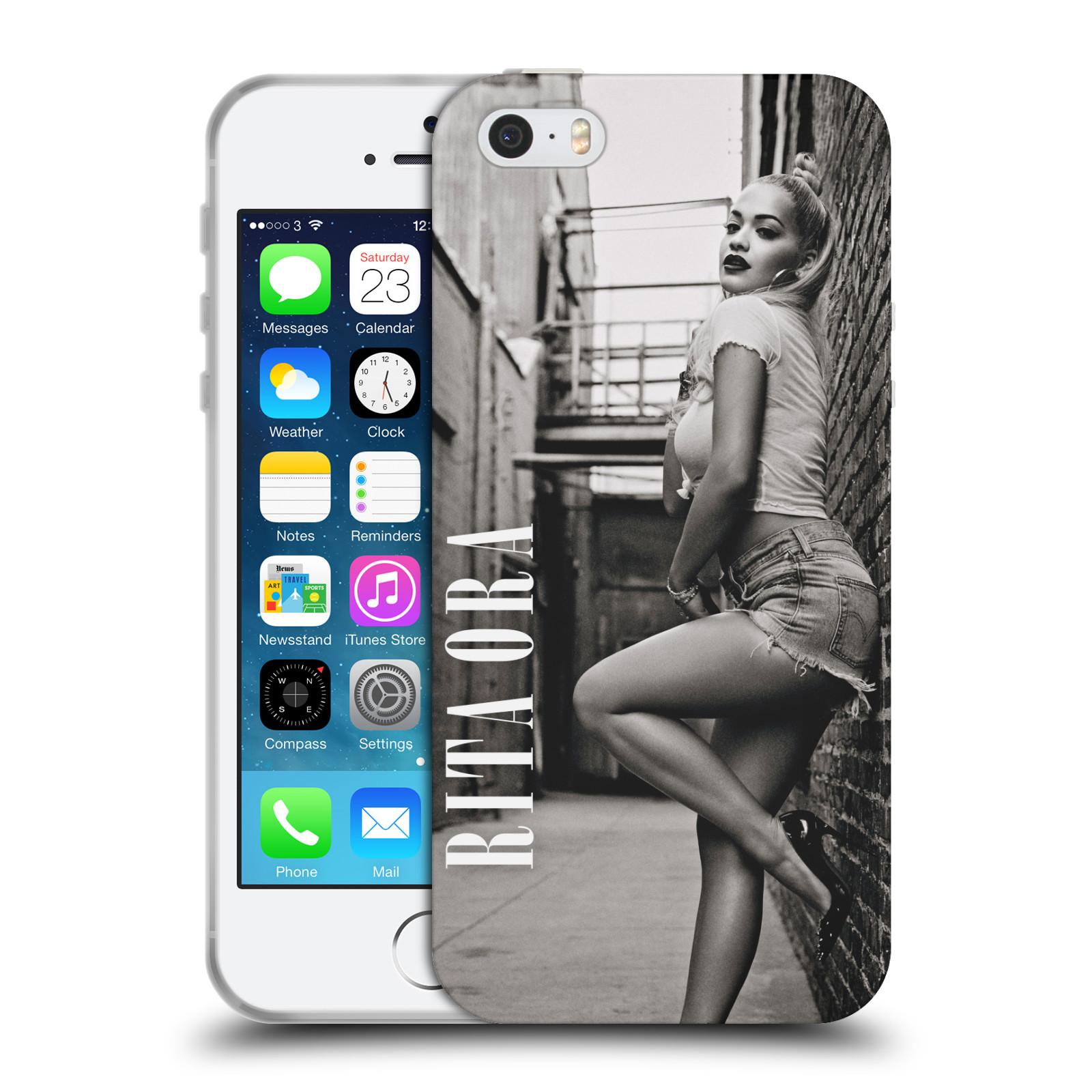 HEAD CASE silikonový obal na mobil Apple Iphone 5/5S zpěvačka Rita Ora foto černobílá