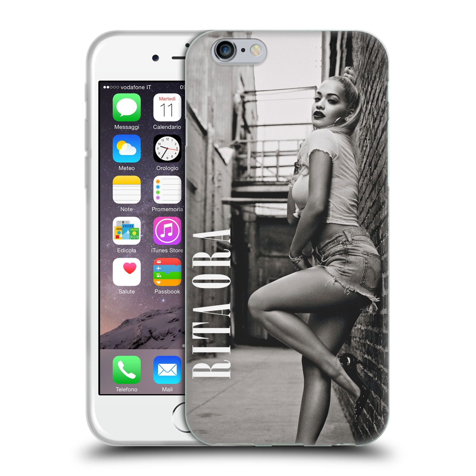 HEAD CASE silikonový obal na mobil Apple Iphone 6/6S zpěvačka Rita Ora foto černobílá