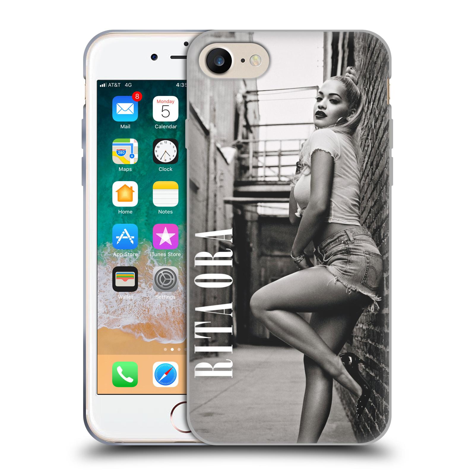 HEAD CASE silikonový obal na mobil Apple Iphone 7 zpěvačka Rita Ora foto černobílá