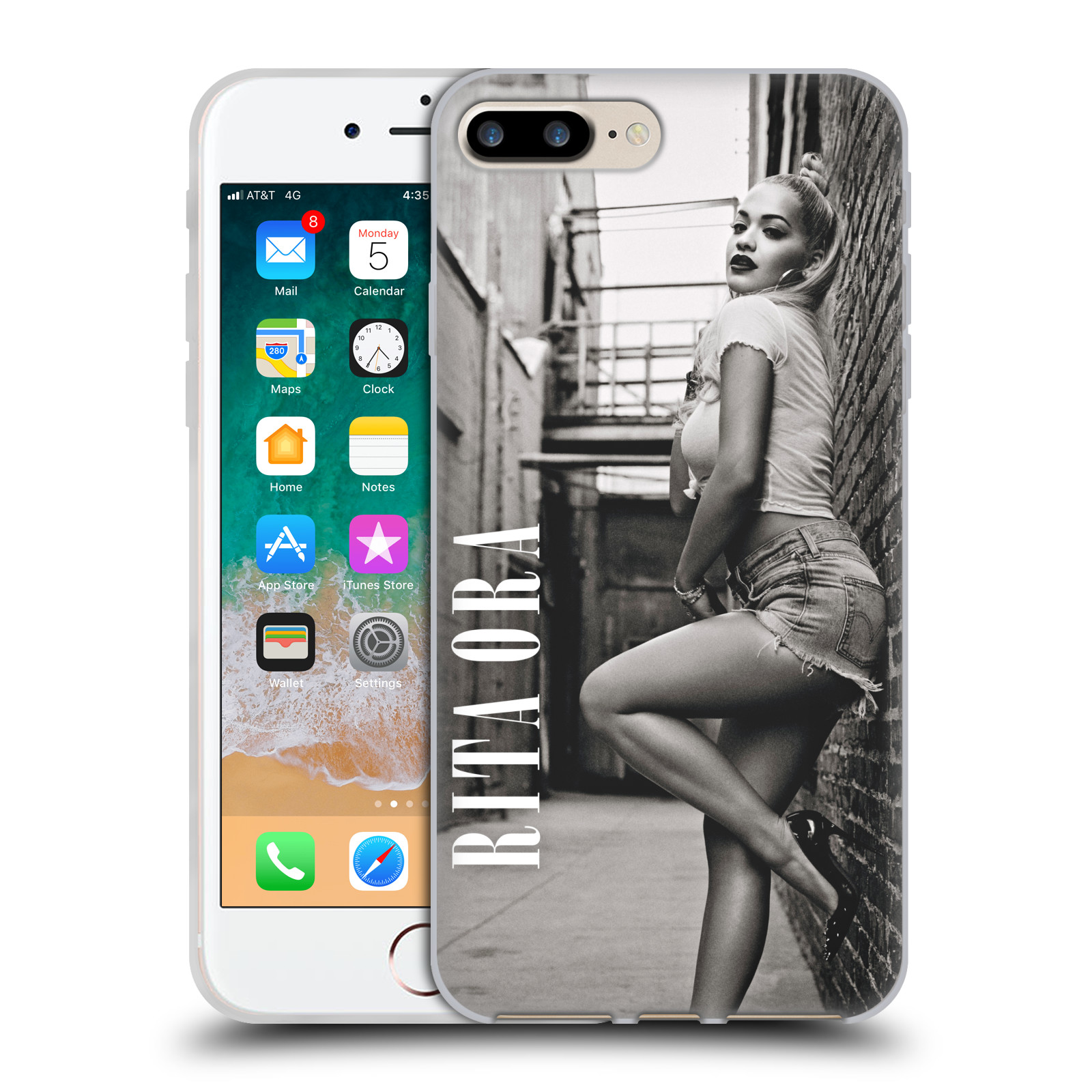 HEAD CASE silikonový obal na mobil Apple Iphone 7 PLUS zpěvačka Rita Ora foto černobílá