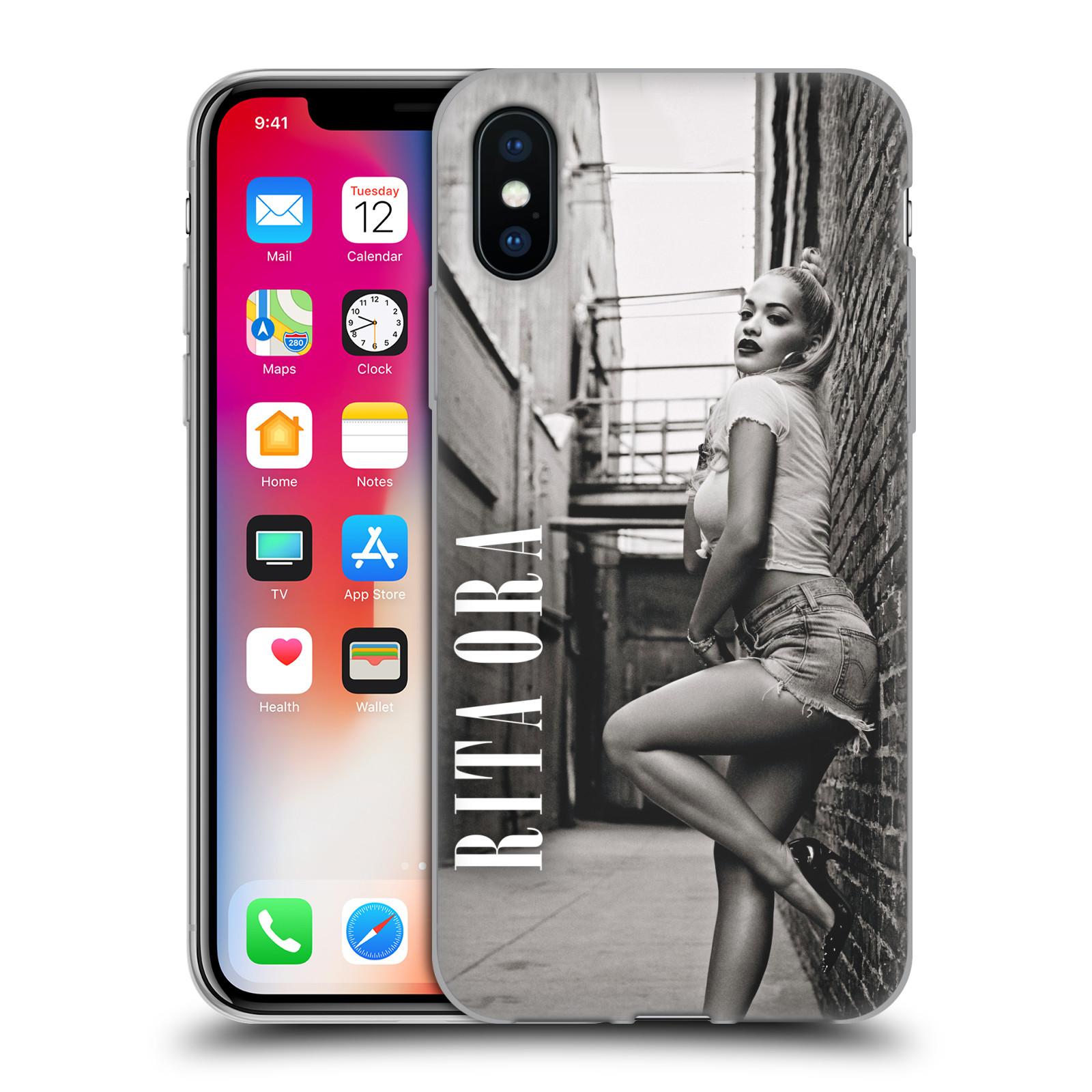HEAD CASE silikonový obal na mobil Apple Iphone X zpěvačka Rita Ora foto černobílá