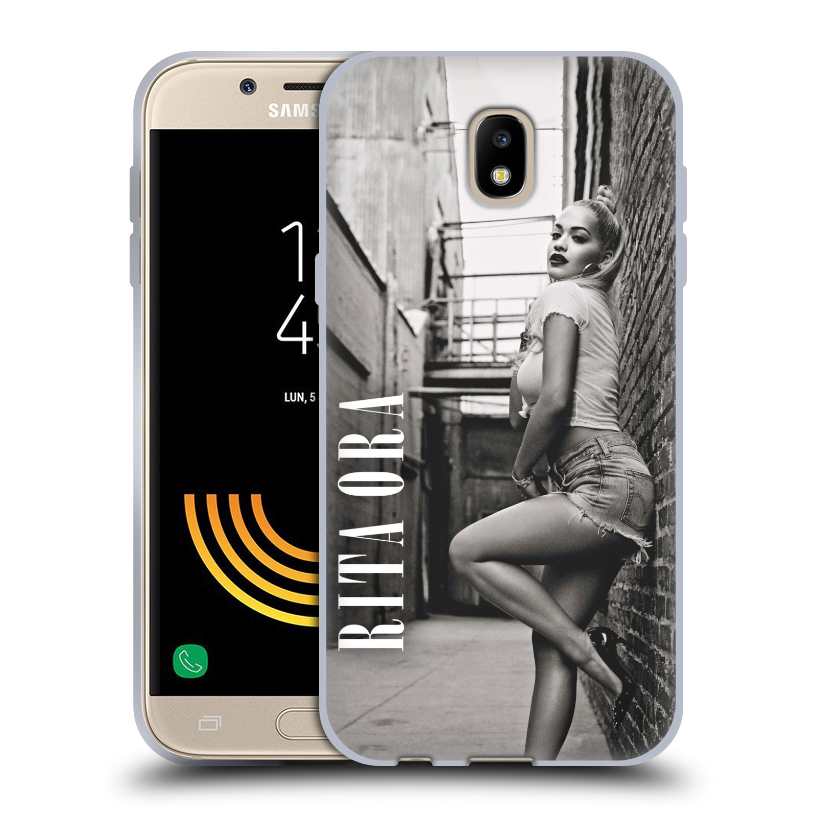 HEAD CASE silikonový obal na mobil Samsung Galaxy J5 2017 zpěvačka Rita Ora foto černobílá