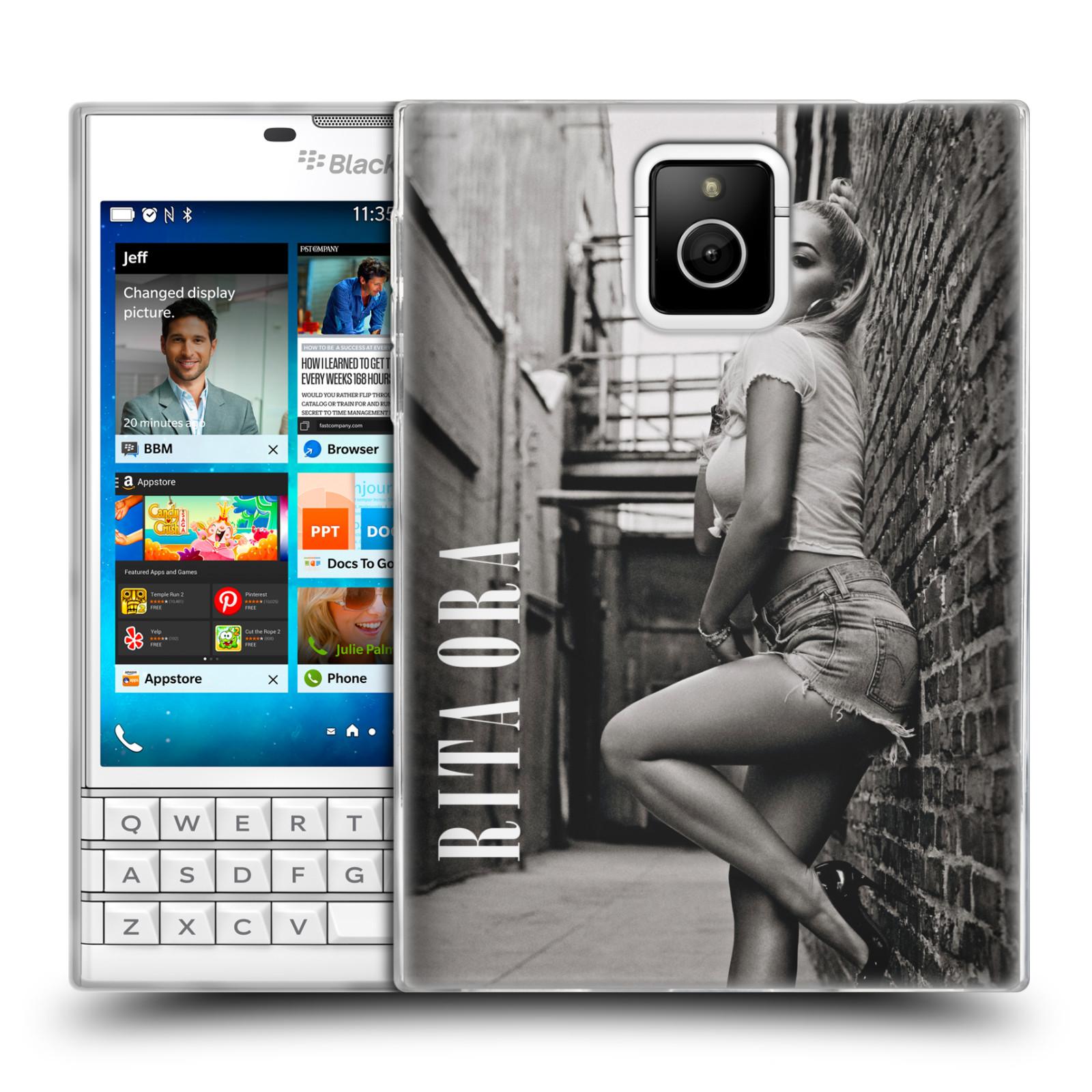 HEAD CASE silikonový obal na mobil Blackberry PASSPORT zpěvačka Rita Ora foto černobílá