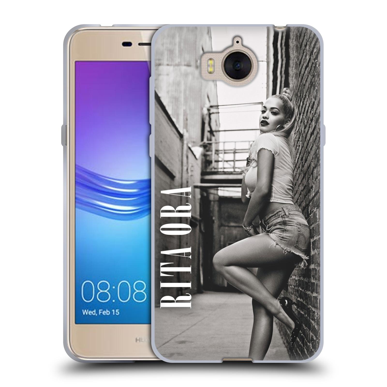HEAD CASE silikonový obal na mobil Huawei Y5 2017 zpěvačka Rita Ora foto černobílá