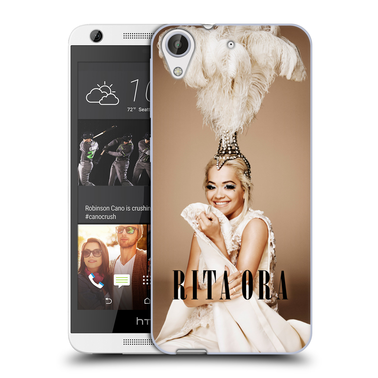 HEAD CASE silikonový obal na mobil HTC Desire 626 zpěvačka Rita Ora peří