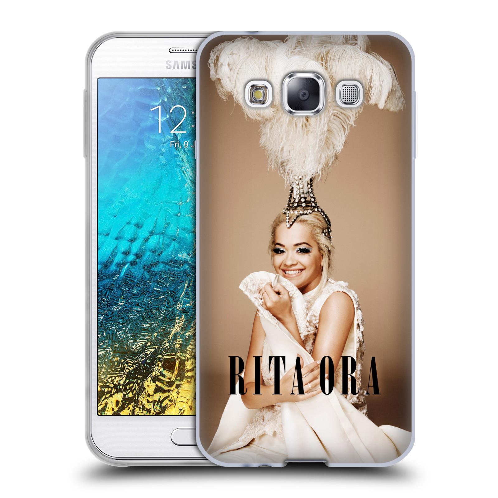 HEAD CASE silikonový obal na mobil Samsung Galaxy E5 zpěvačka Rita Ora peří