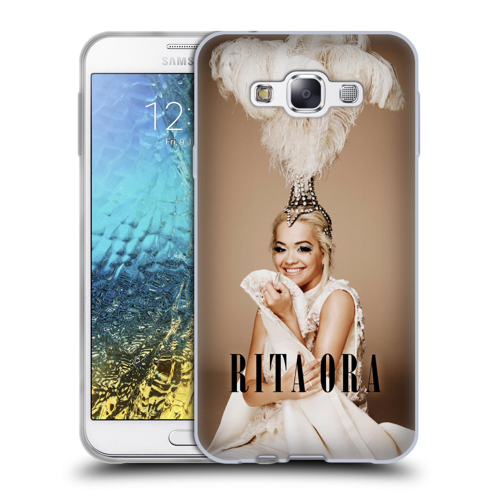 HEAD CASE silikonový obal na mobil Samsung Galaxy E7 zpěvačka Rita Ora peří