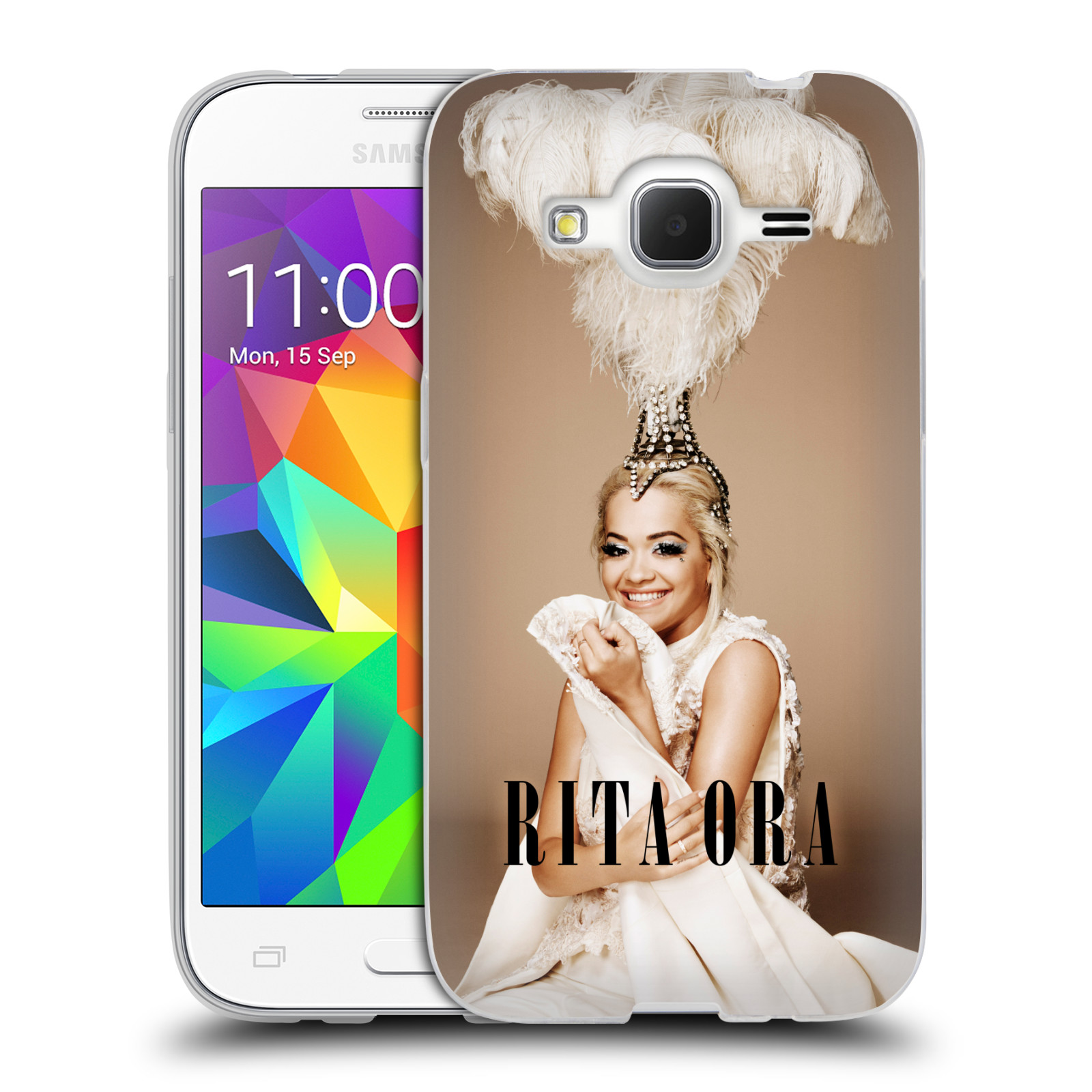HEAD CASE silikonový obal na mobil Samsung Galaxy Core Prime (G360) zpěvačka Rita Ora peří