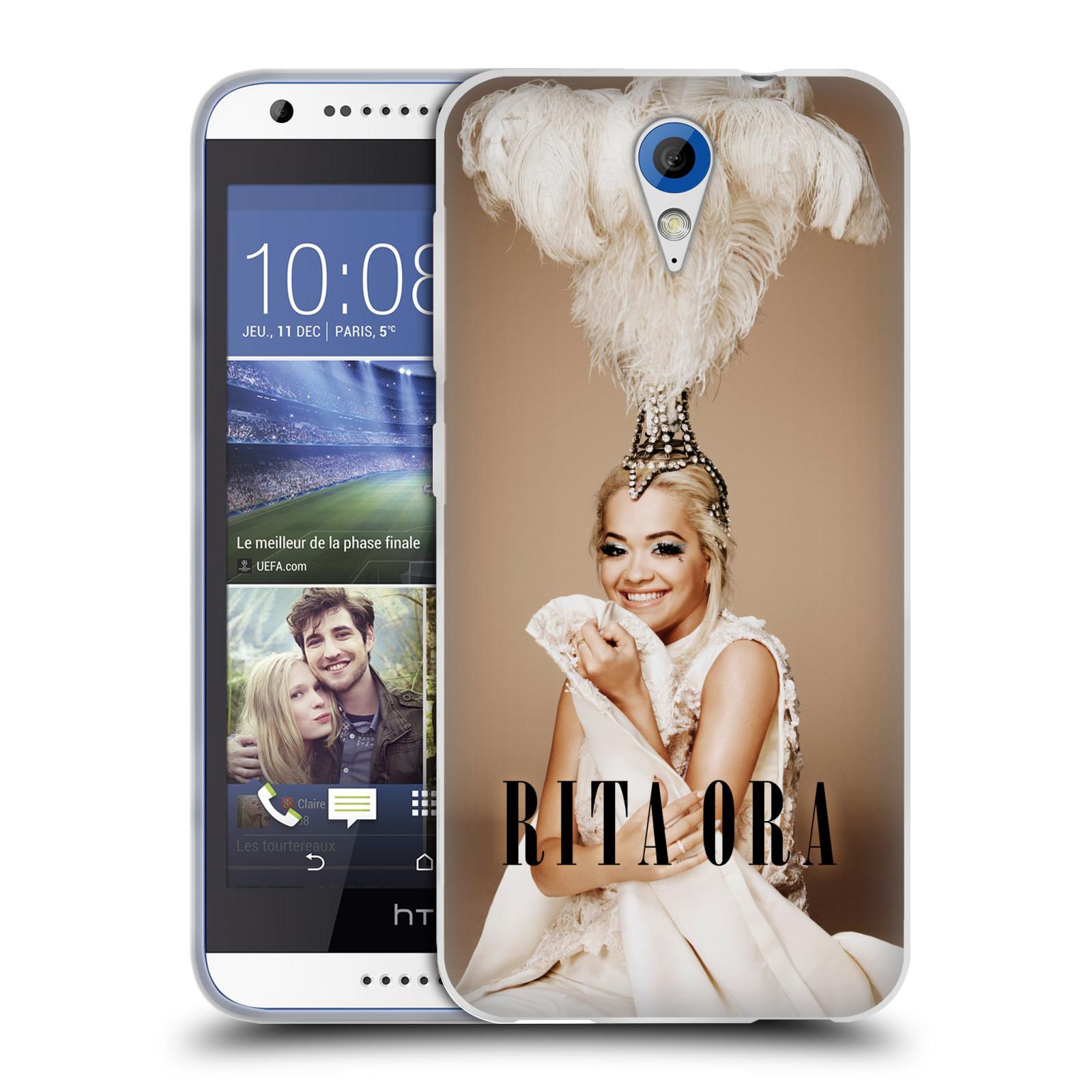 HEAD CASE silikonový obal na mobil HTC Desire 620 zpěvačka Rita Ora peří