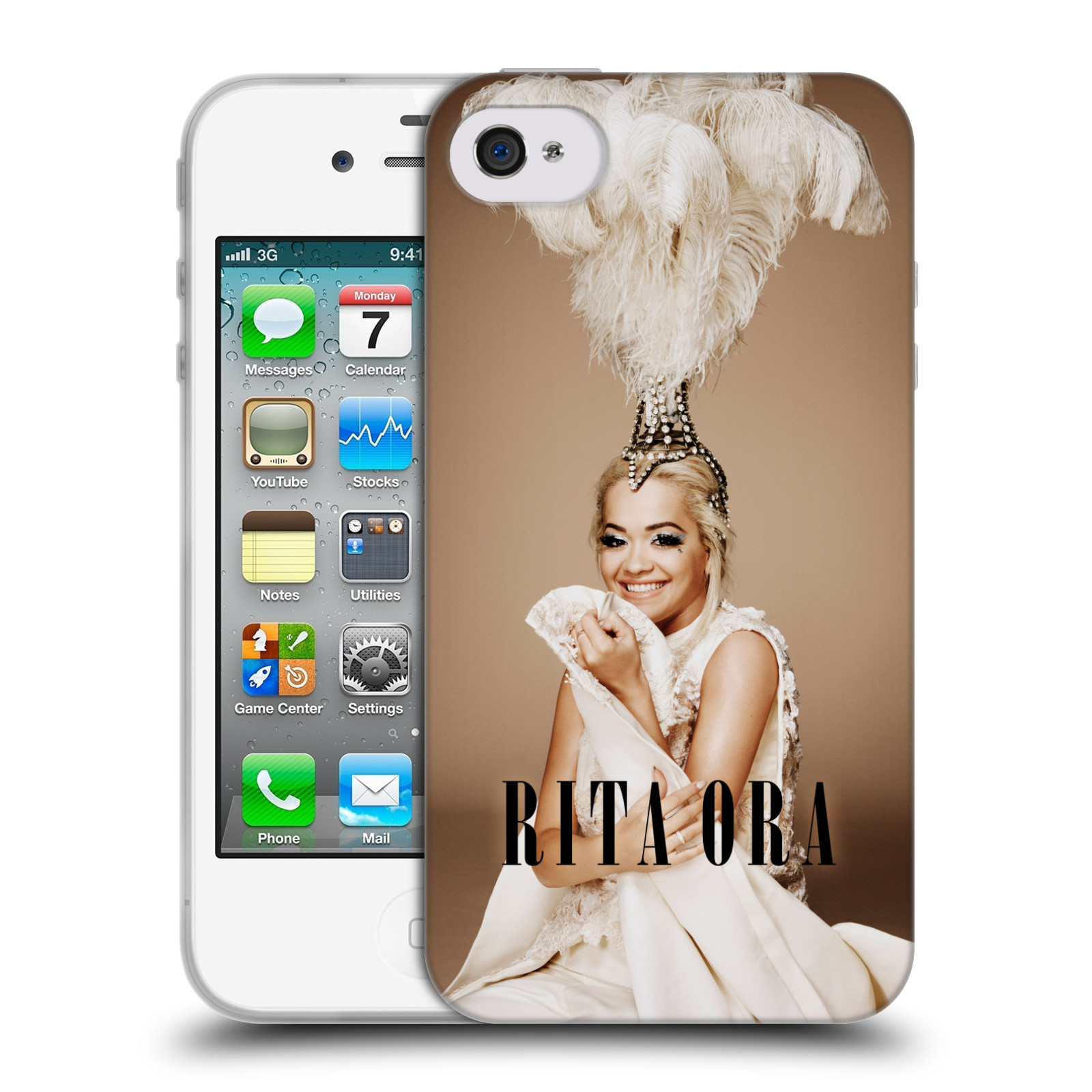 HEAD CASE silikonový obal na mobil Apple Iphone 4/4S zpěvačka Rita Ora peří