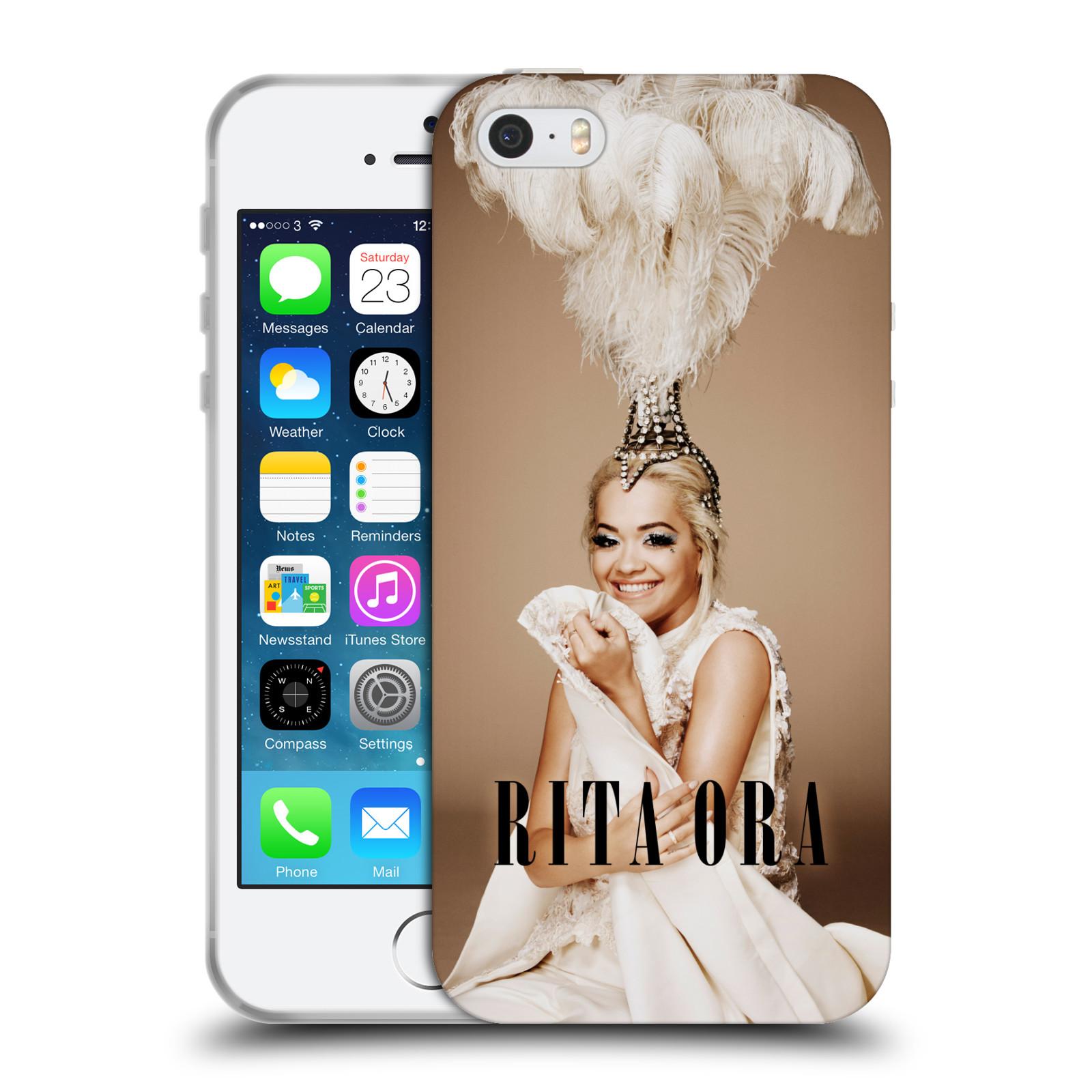 HEAD CASE silikonový obal na mobil Apple Iphone 5/5S zpěvačka Rita Ora peří