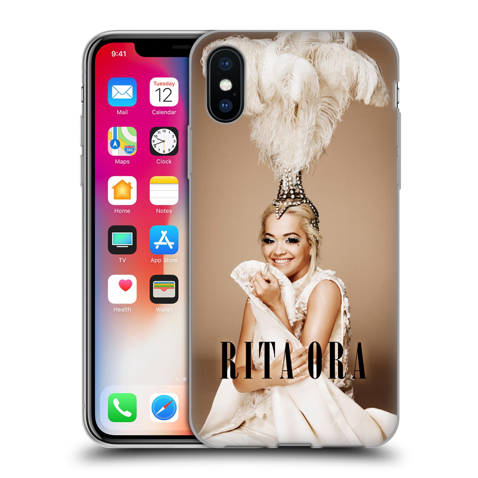 HEAD CASE silikonový obal na mobil Apple Iphone X zpěvačka Rita Ora peří