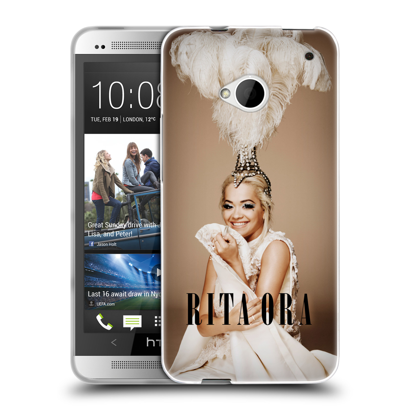 HEAD CASE silikonový obal na mobil HTC one M7 zpěvačka Rita Ora peří