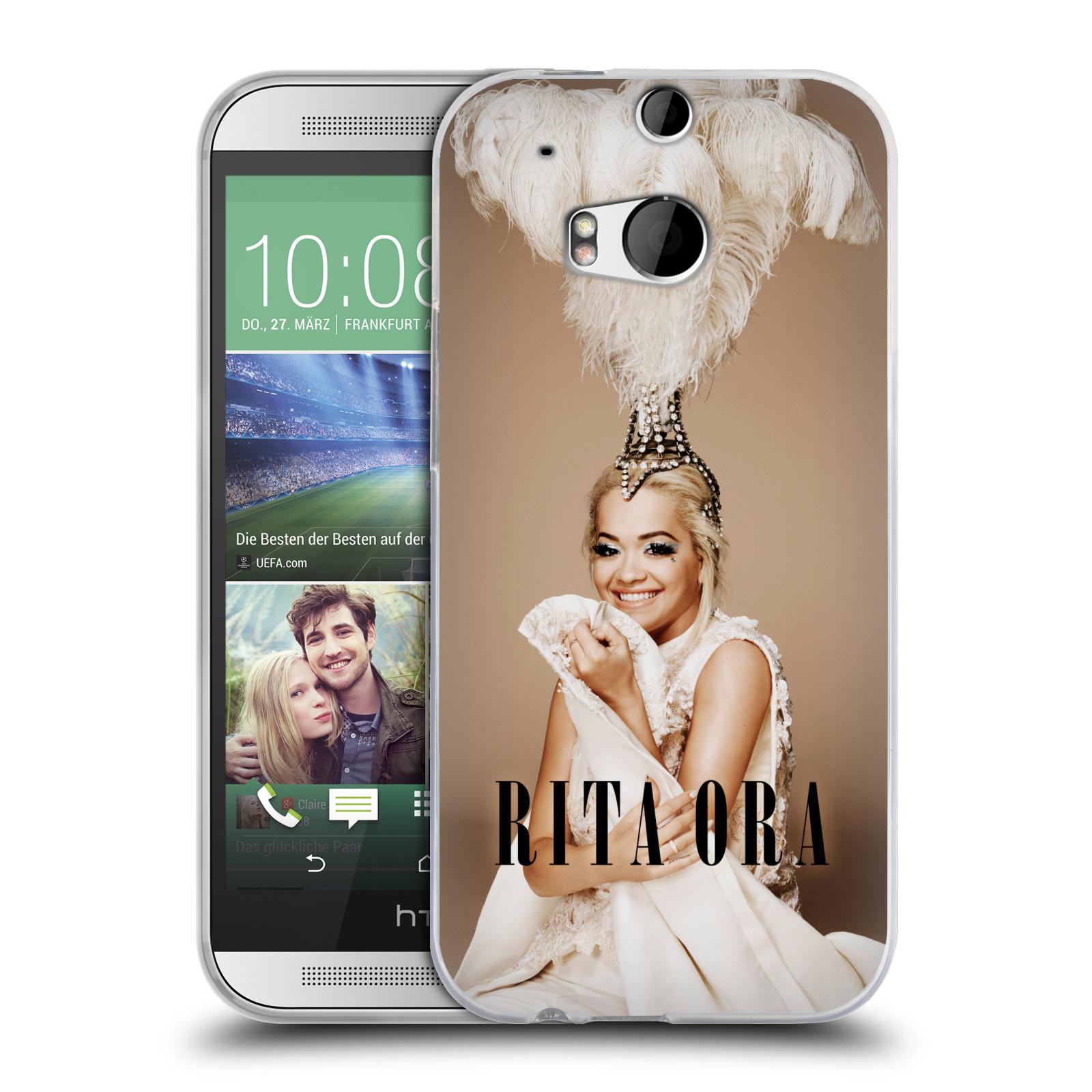 HEAD CASE silikonový obal na mobil HTC one M8 / M8s zpěvačka Rita Ora peří