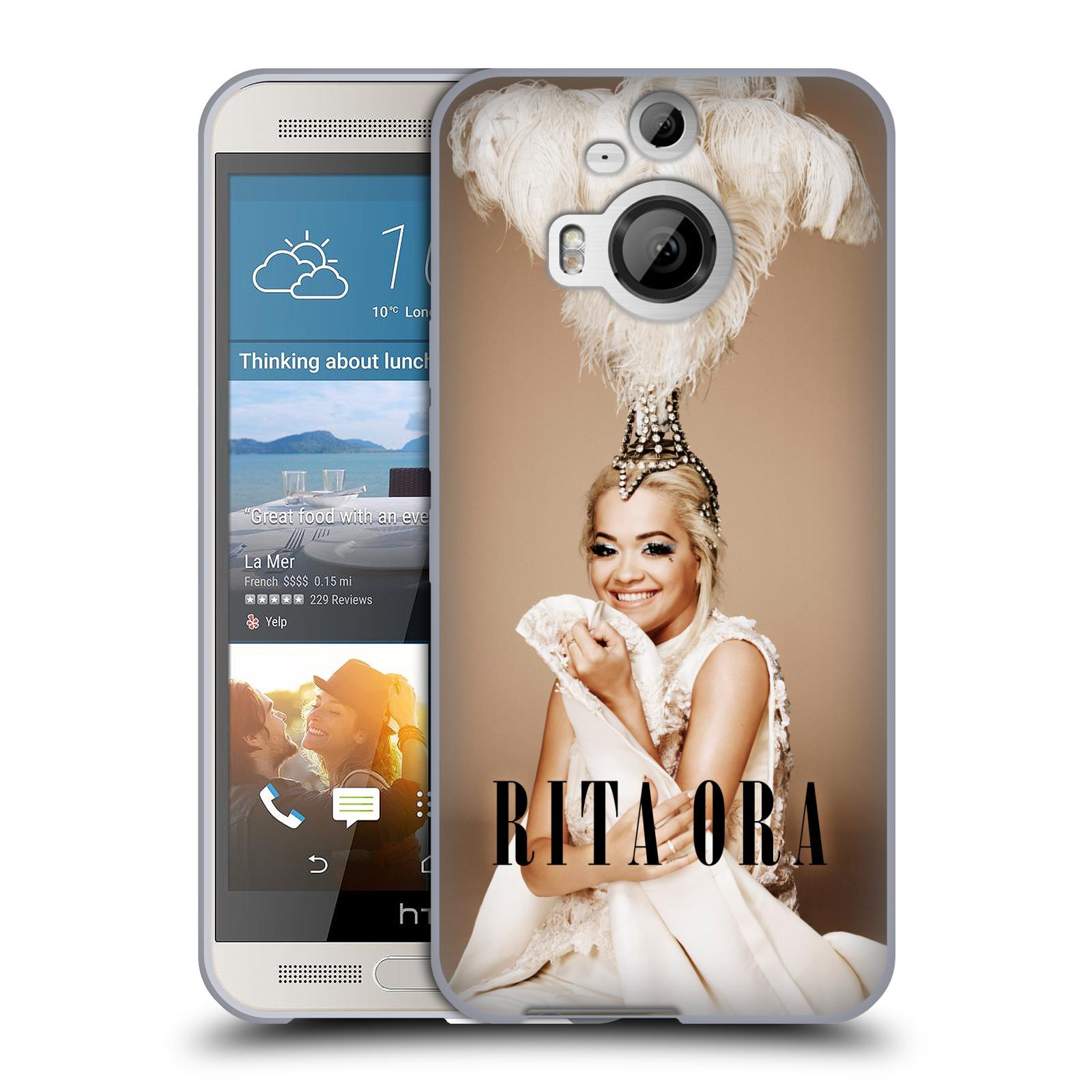 HEAD CASE silikonový obal na mobil HTC One M9 PLUS zpěvačka Rita Ora peří